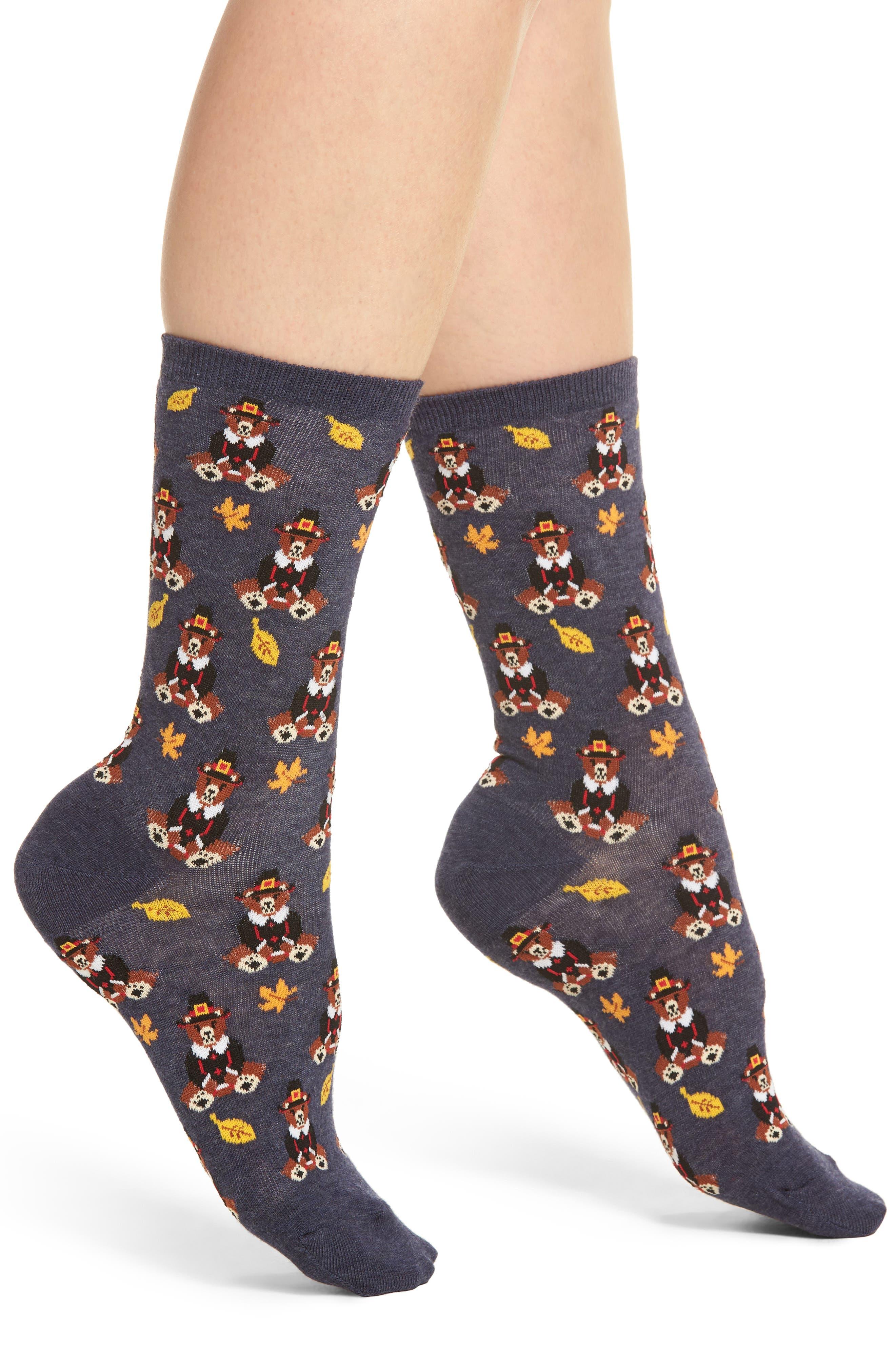 Pilgrim Bears Crew Socks,                             Main thumbnail 1, color,                             Denim Heather
