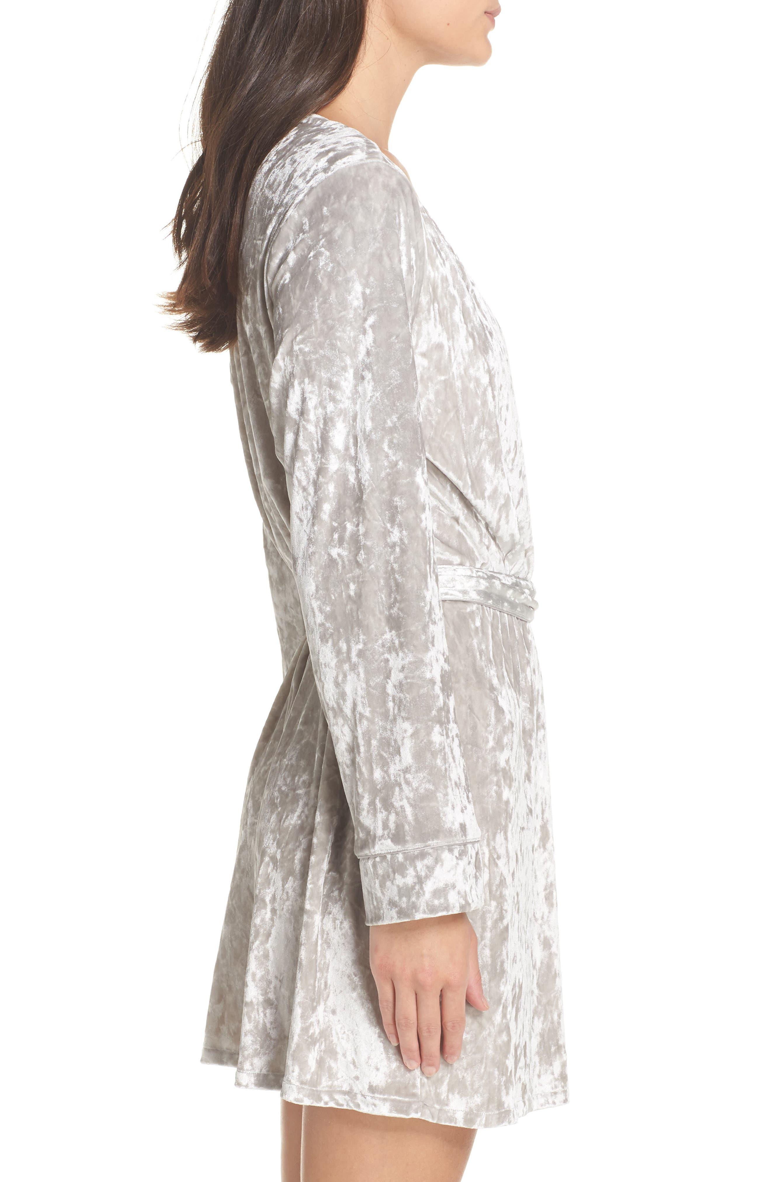 Crushed Velvet Short Robe,                             Alternate thumbnail 3, color,                             Grey Vapor