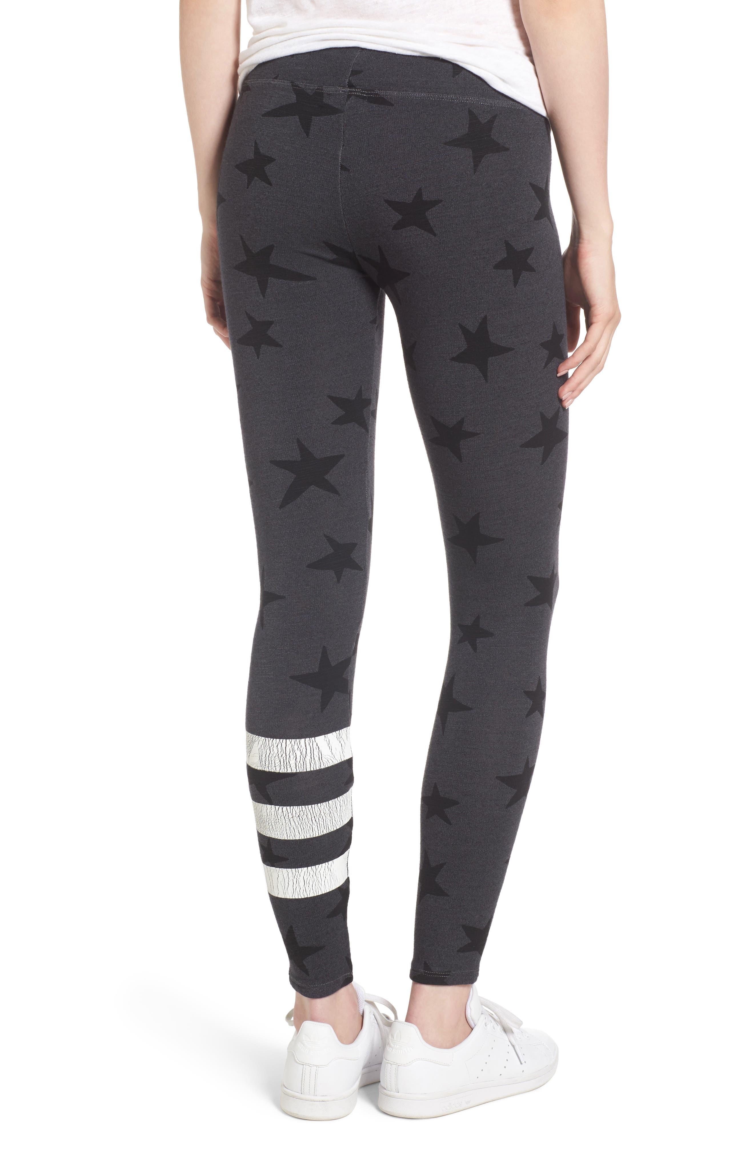 Stripe Star Leggings,                             Alternate thumbnail 2, color,                             Soft Black
