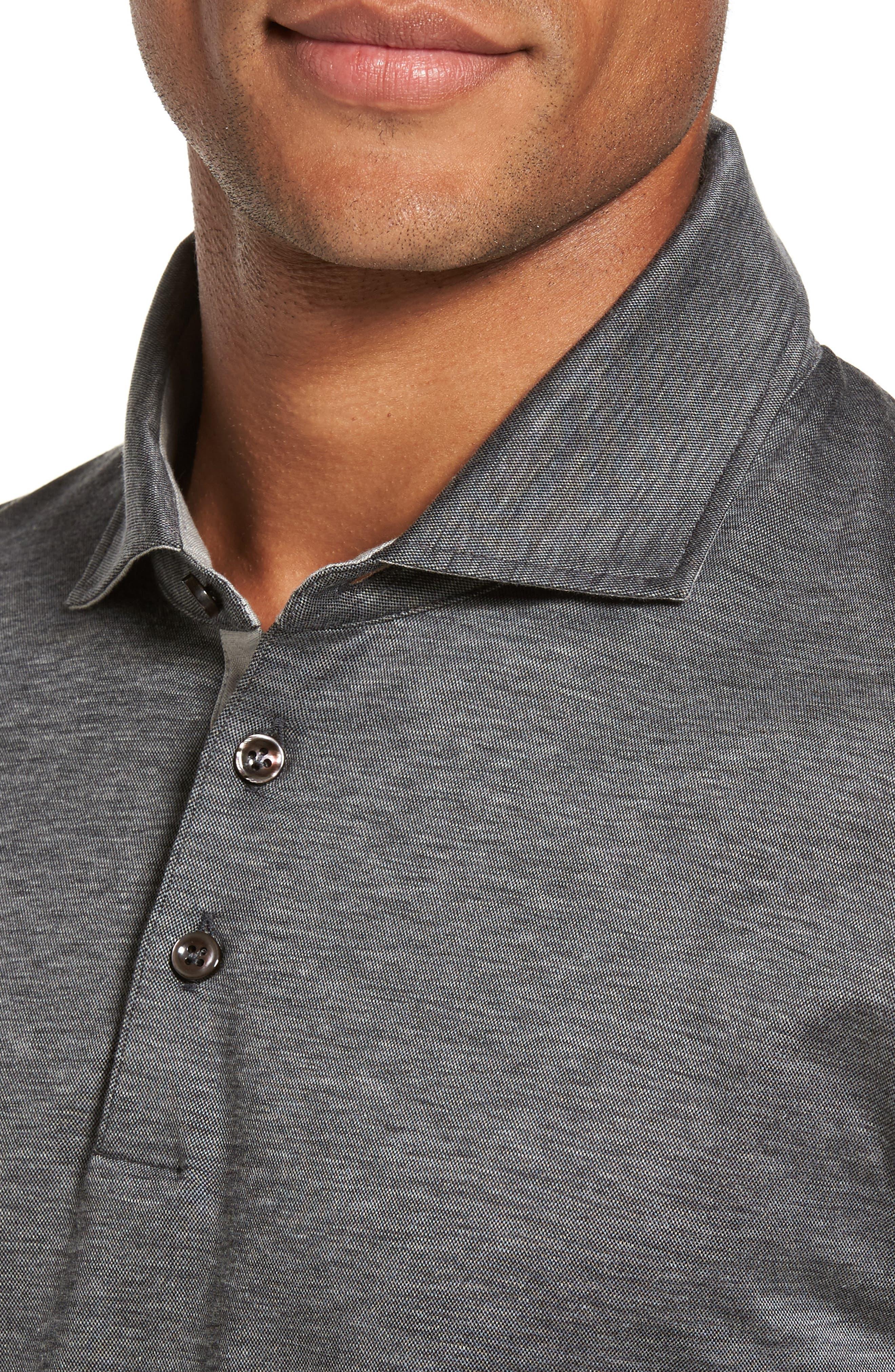 T-Morrison Slim Fit Long Sleeve Polo,                             Alternate thumbnail 4, color,                             Black