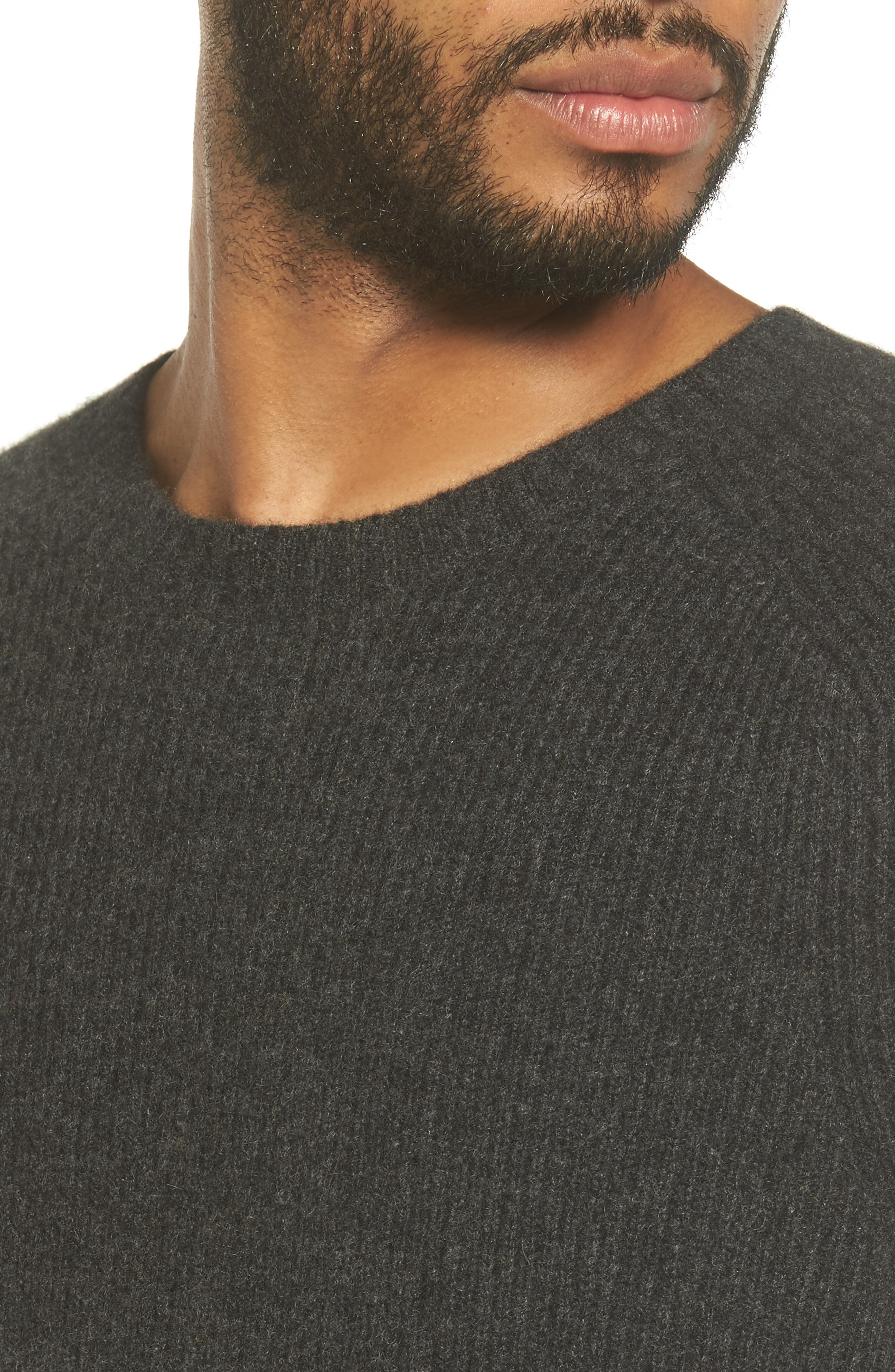 Ribbed Wool & Cashmere Raglan Sweater,                             Alternate thumbnail 4, color,                             Heather Carbon