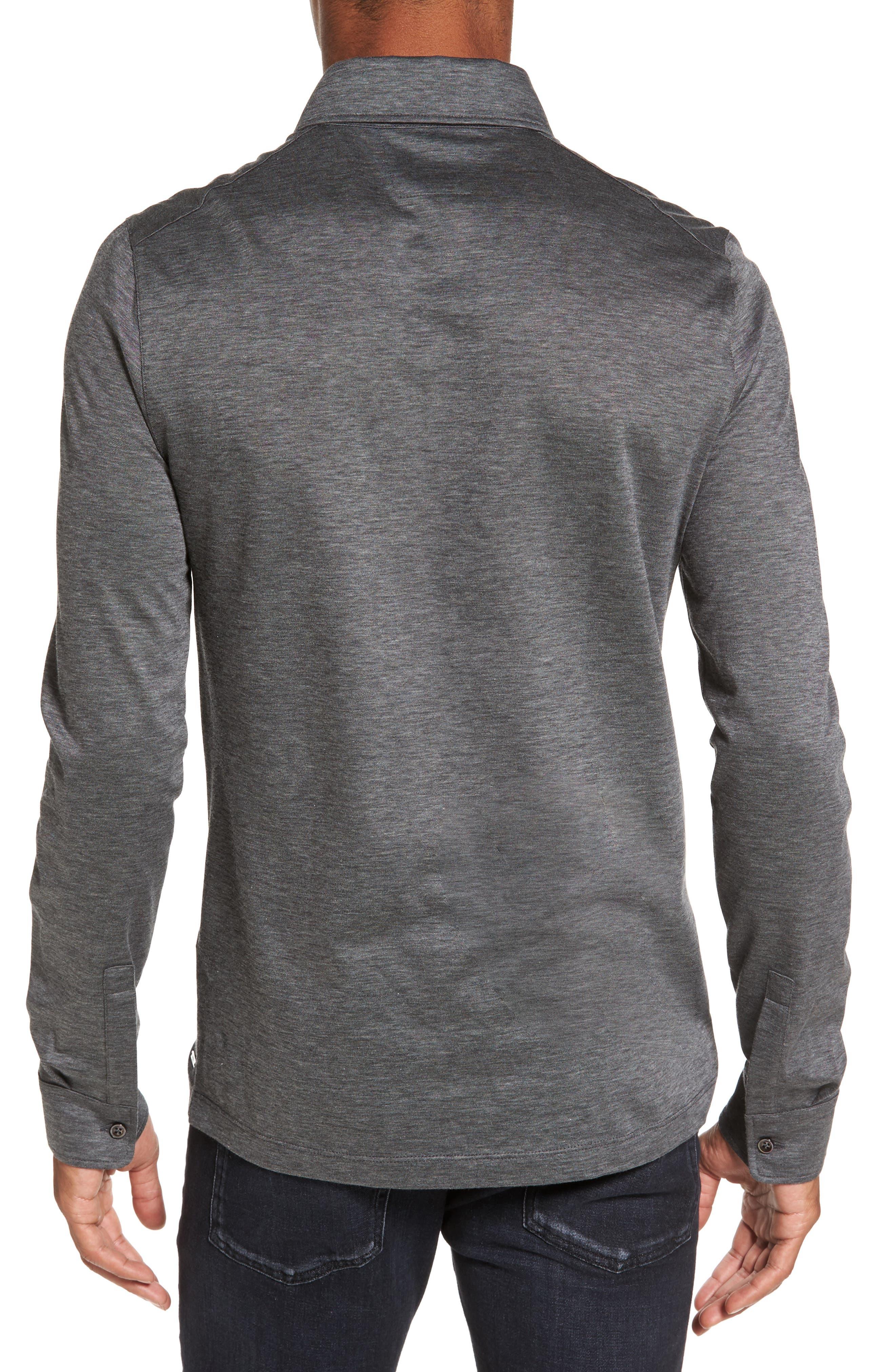 T-Morrison Slim Fit Long Sleeve Polo,                             Alternate thumbnail 2, color,                             Black
