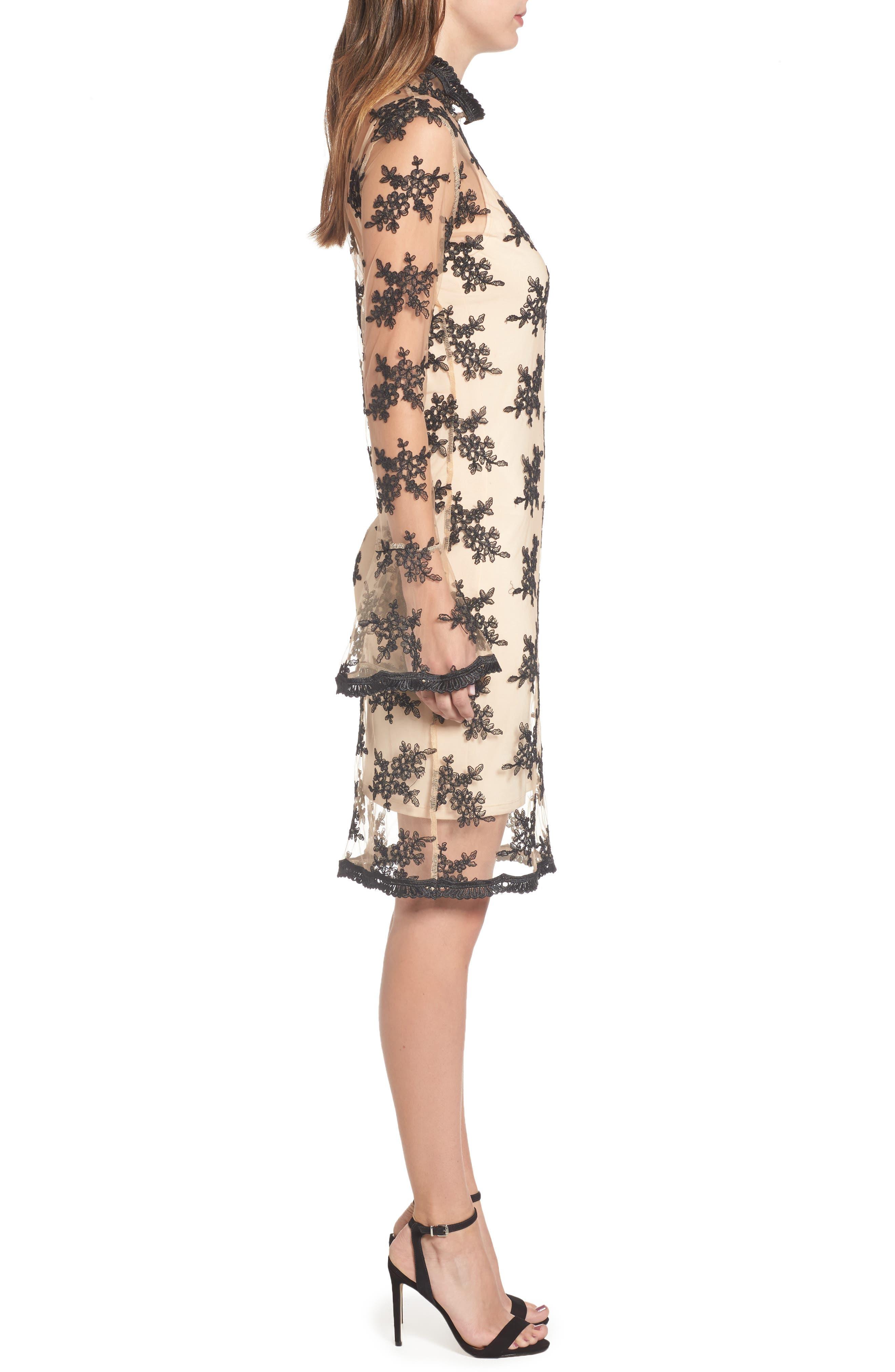 Desh Embroidered Dress,                             Alternate thumbnail 3, color,                             Black