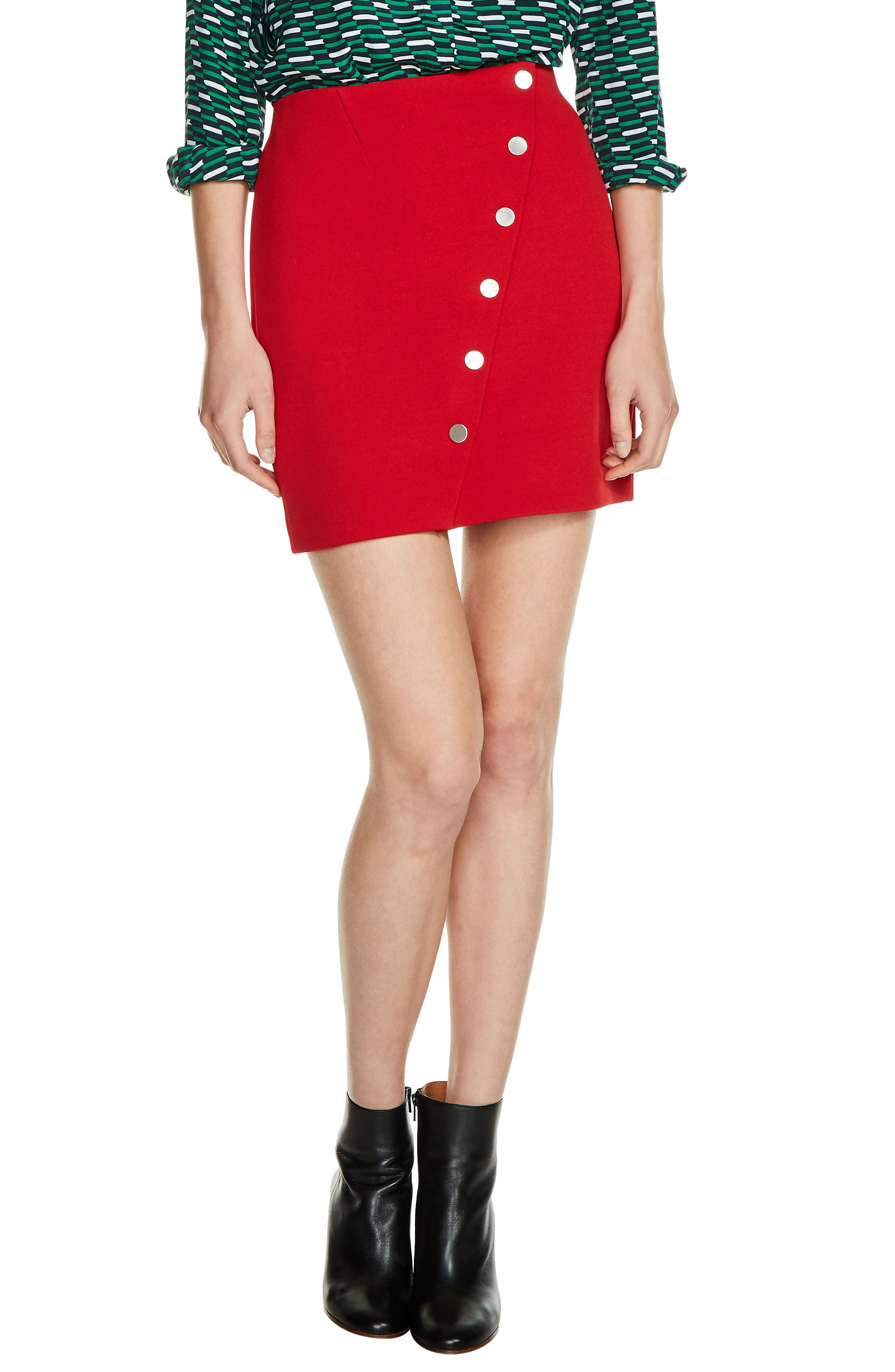 Diagonal Button Detail Miniskirt,                         Main,                         color, Red