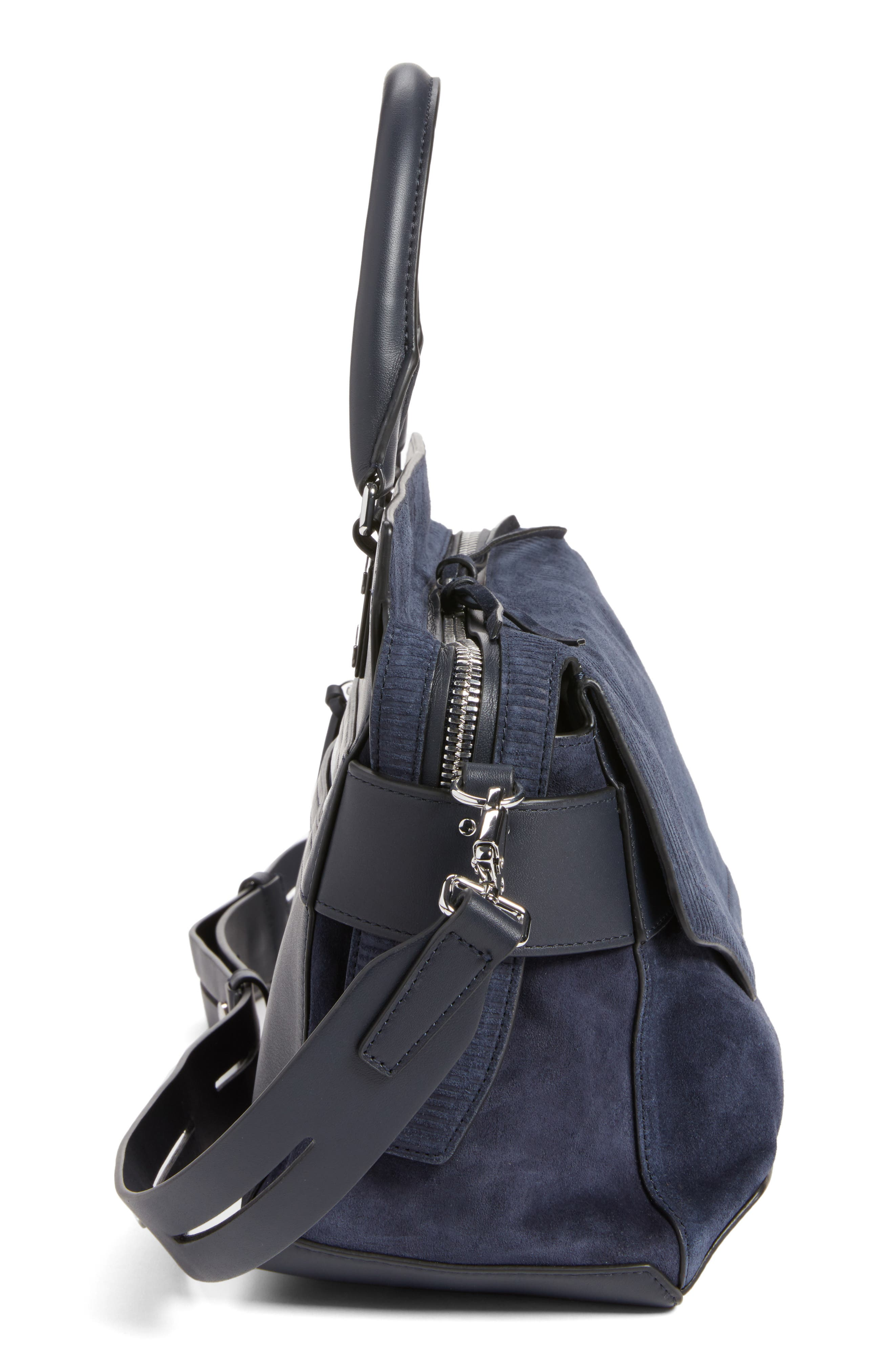 Pilot Calfskin Leather Satchel,                             Alternate thumbnail 4, color,                             Navy Suede