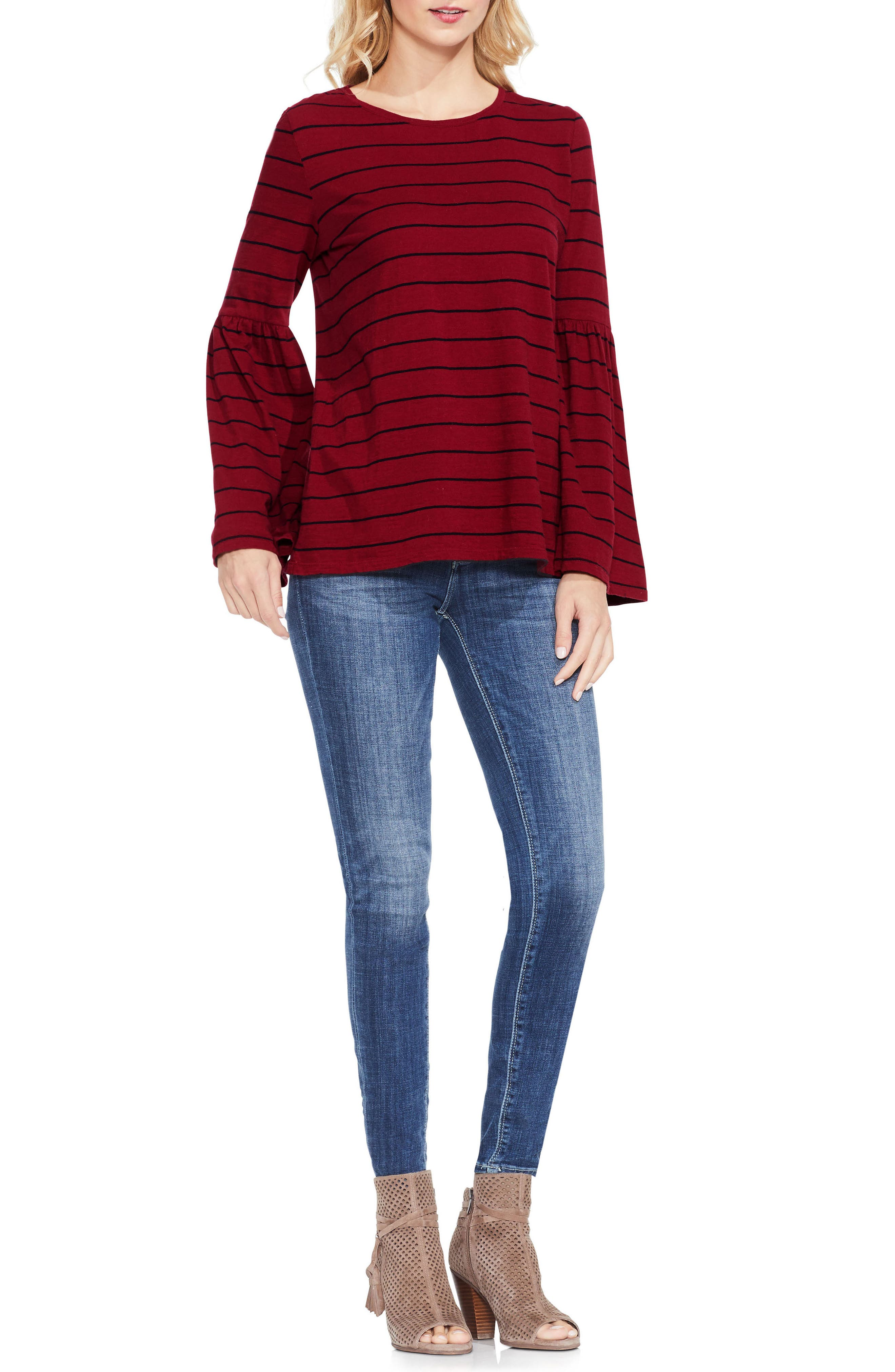 Alternate Image 2  - Two by Vince Camuto Bell Sleeve Stripe Top