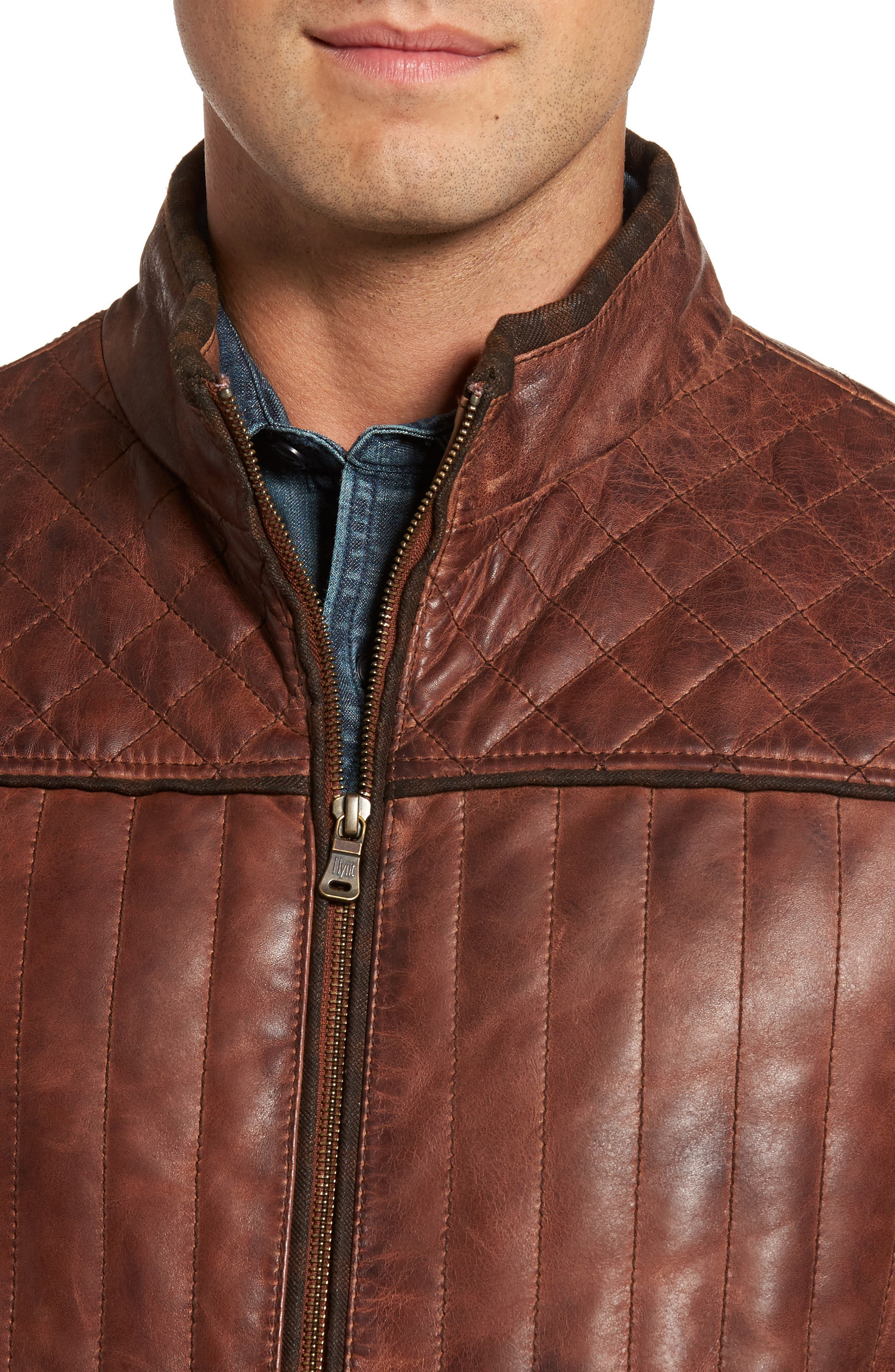 Quilted Leather Vest,                             Alternate thumbnail 4, color,                             Brown