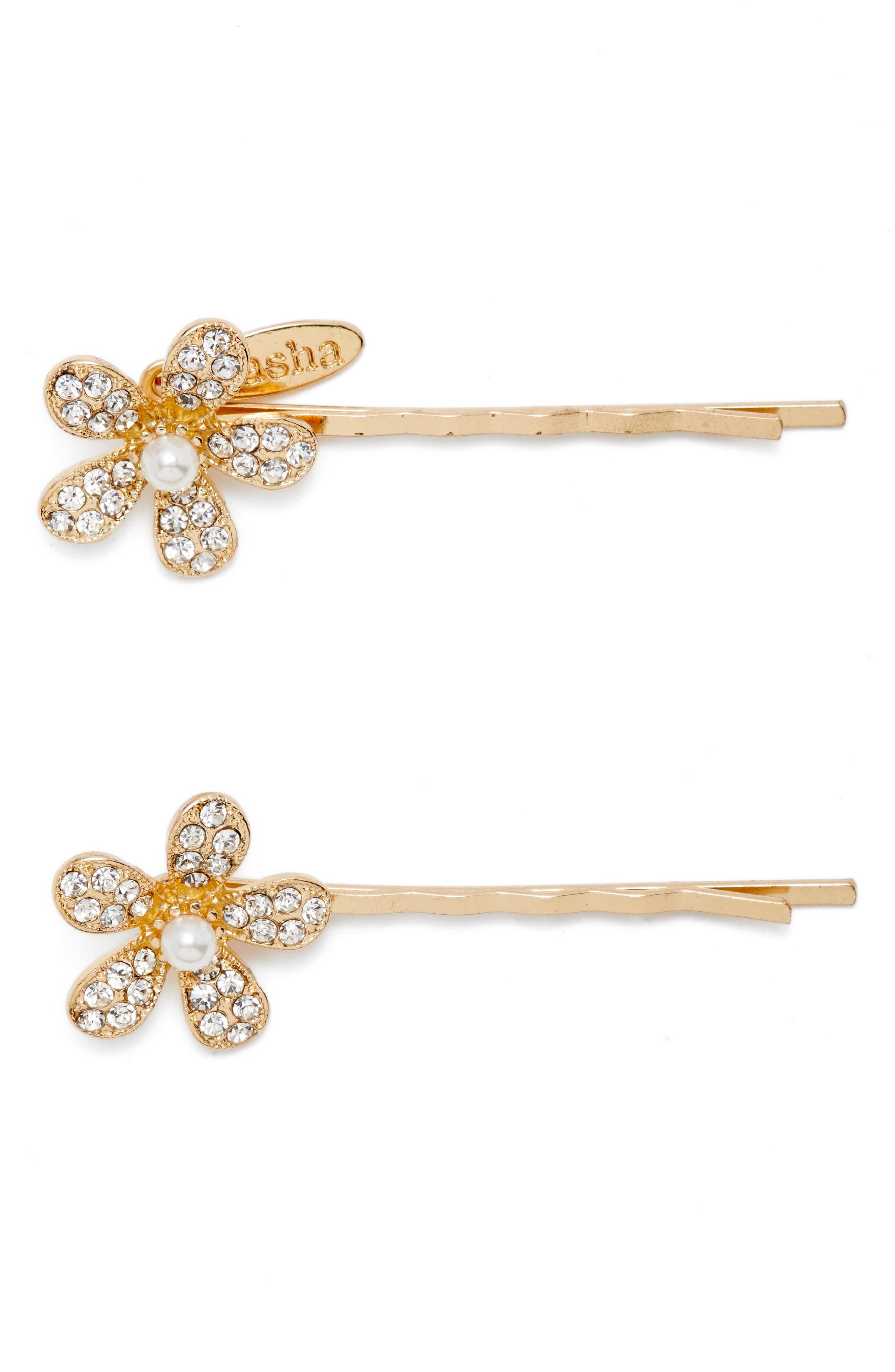 Princess Floral Set of 2 Bobby Pins,                         Main,                         color, Gold