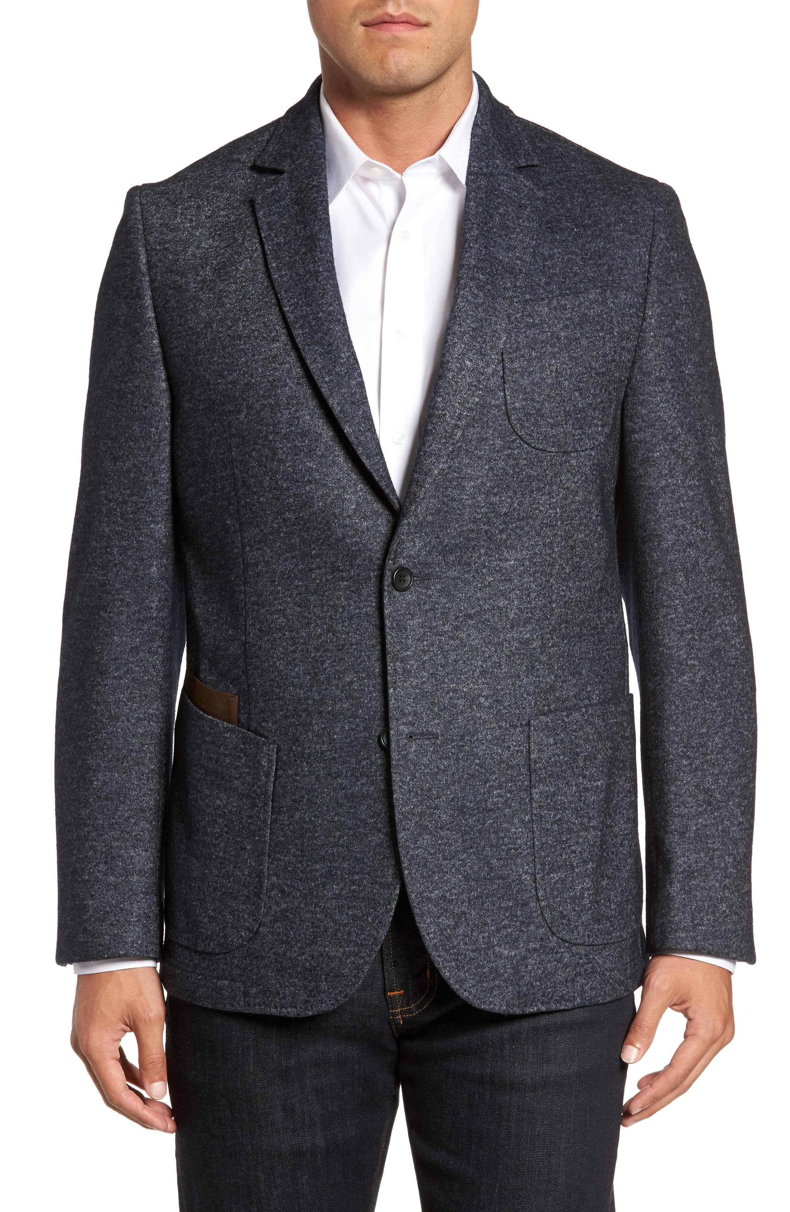 Alternate Image 1 Selected - FLYNT Classic Fit Suede Trim Jersey Sport Coat