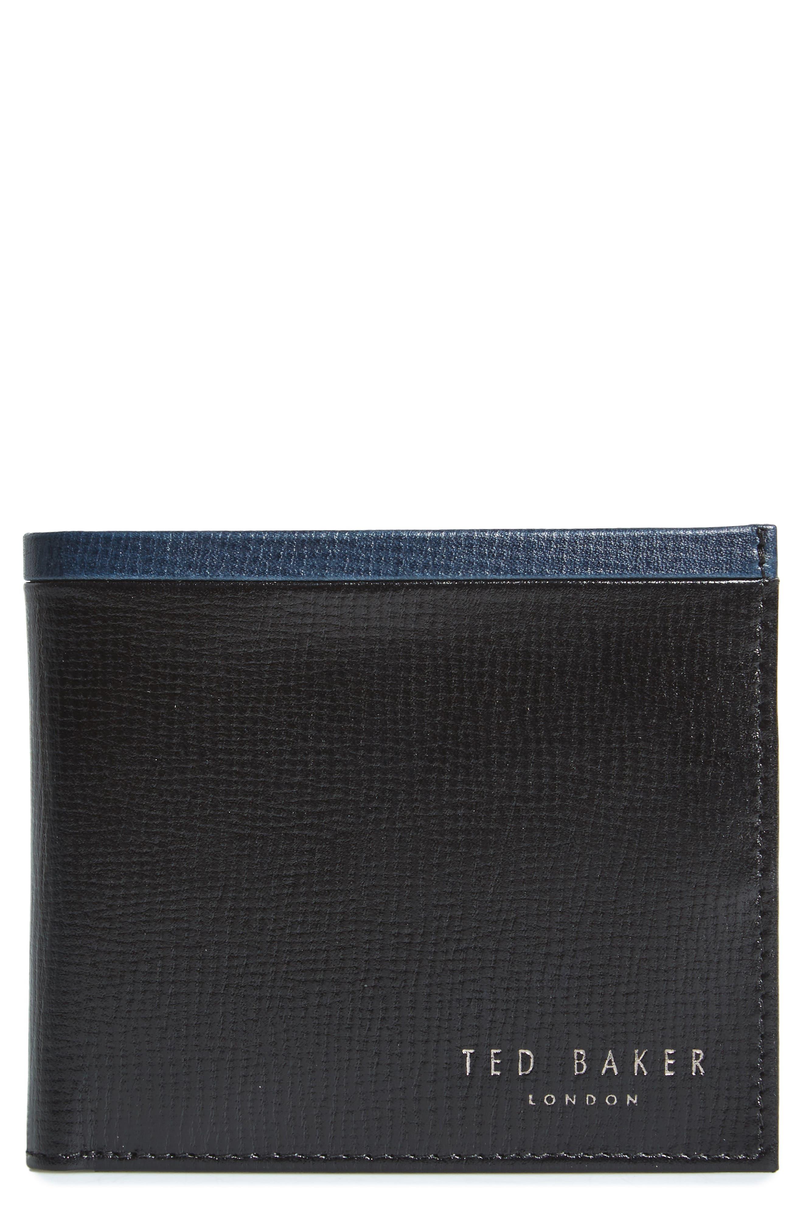 Leather Wallet,                         Main,                         color, Black