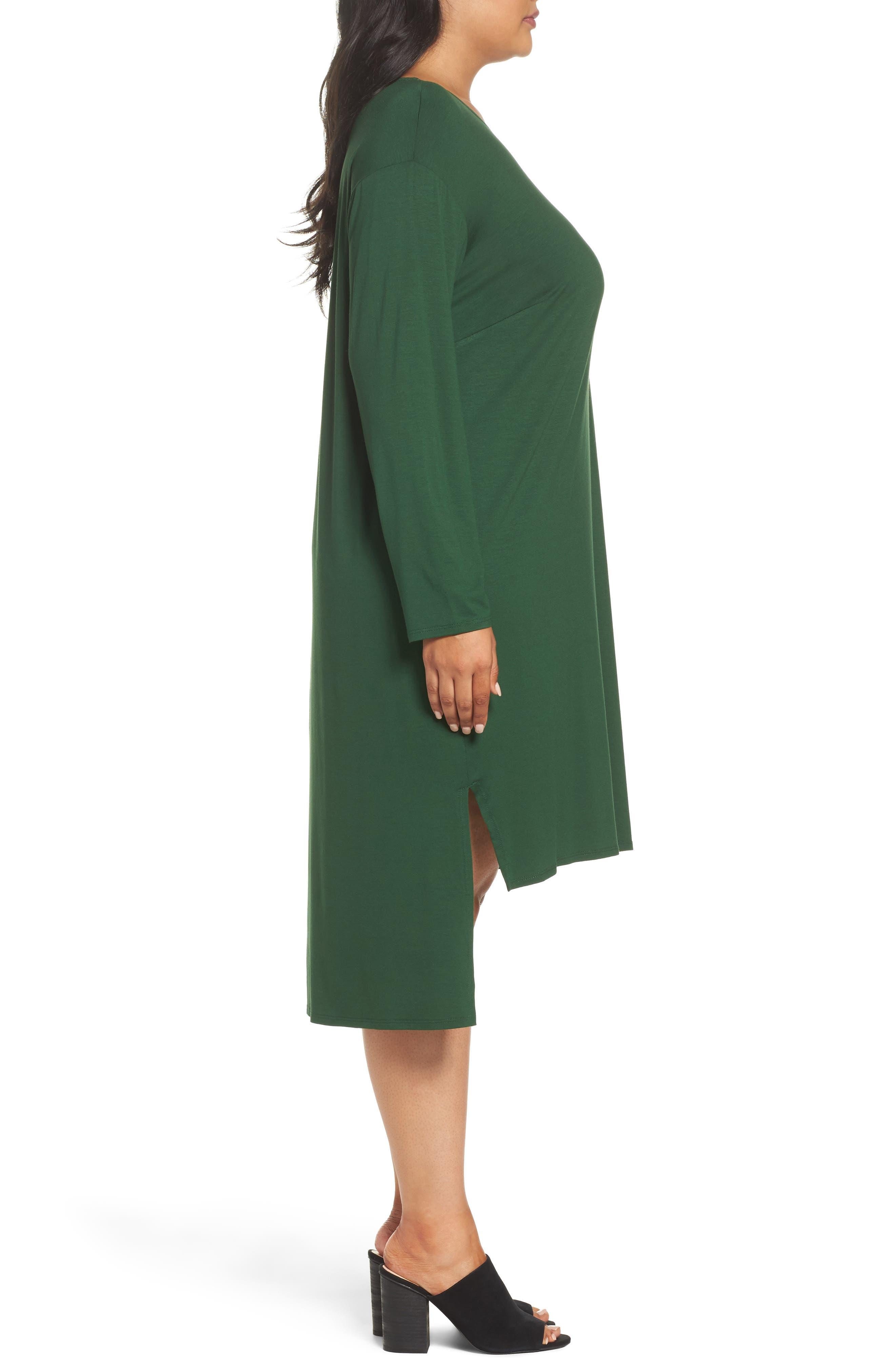 Alternate Image 3  - Eileen Fisher High/Low Jersey Shift Dress (Plus Size)