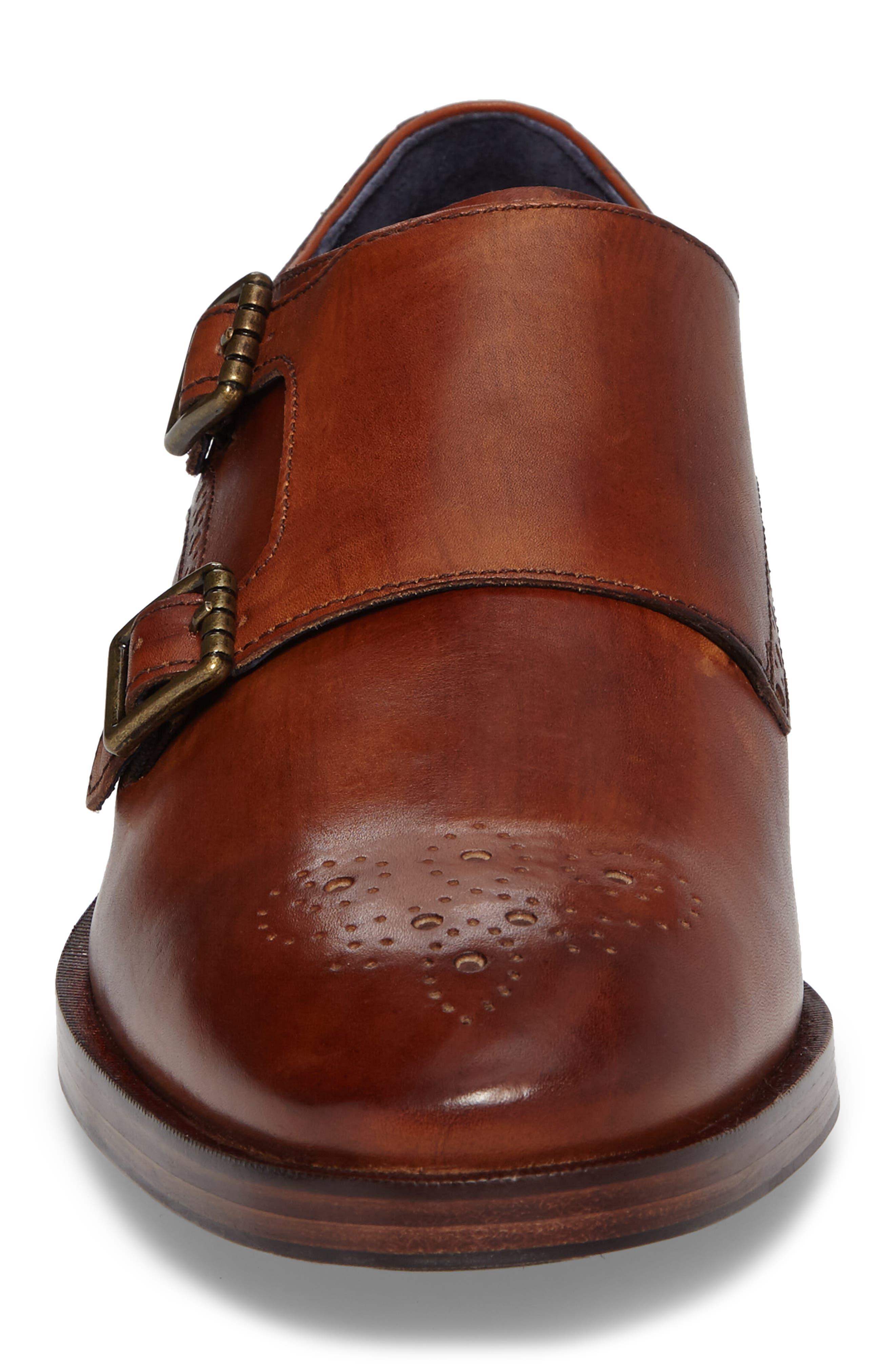 Hamilton Double Monk Strap Shoe,                             Alternate thumbnail 4, color,                             British Tan Leather