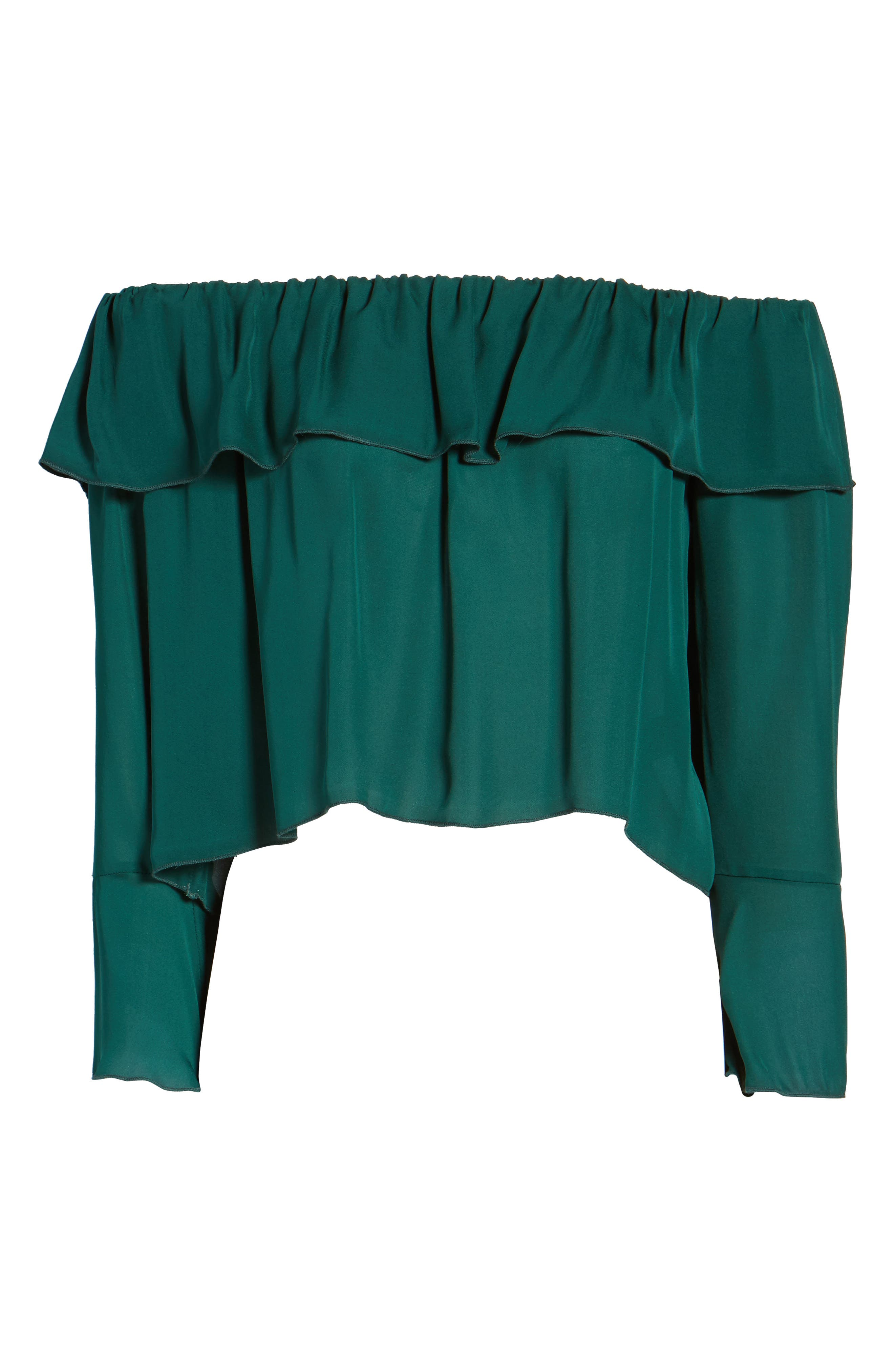 Kennedy Off the Shoulder Blouse,                             Alternate thumbnail 6, color,                             Emerald Green