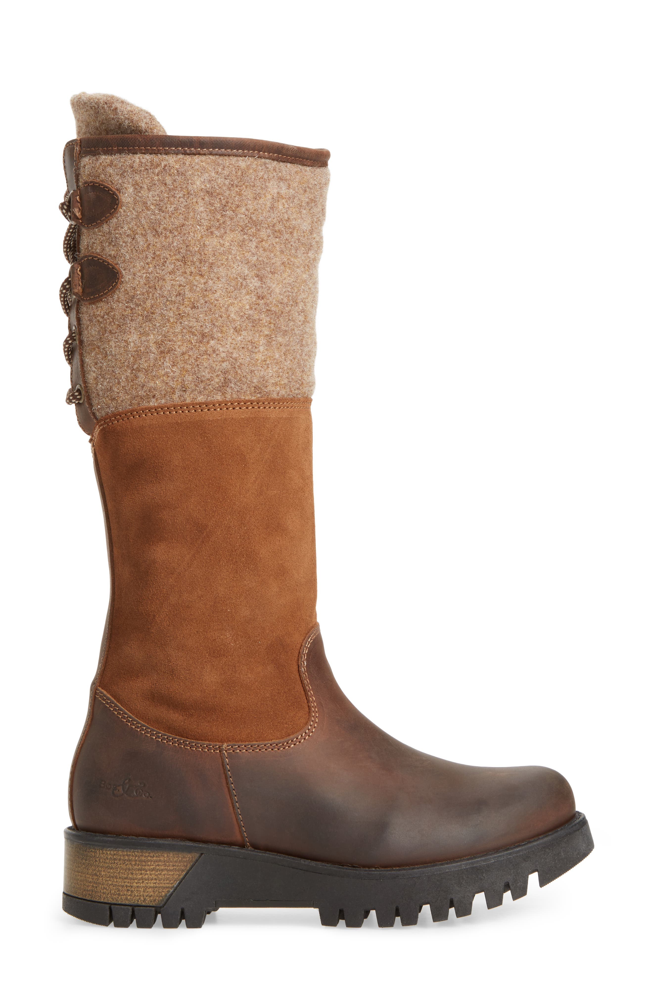 'Ginger' Waterproof Mid Calf Platform Boot,                             Alternate thumbnail 3, color,                             Expresso/ Beige
