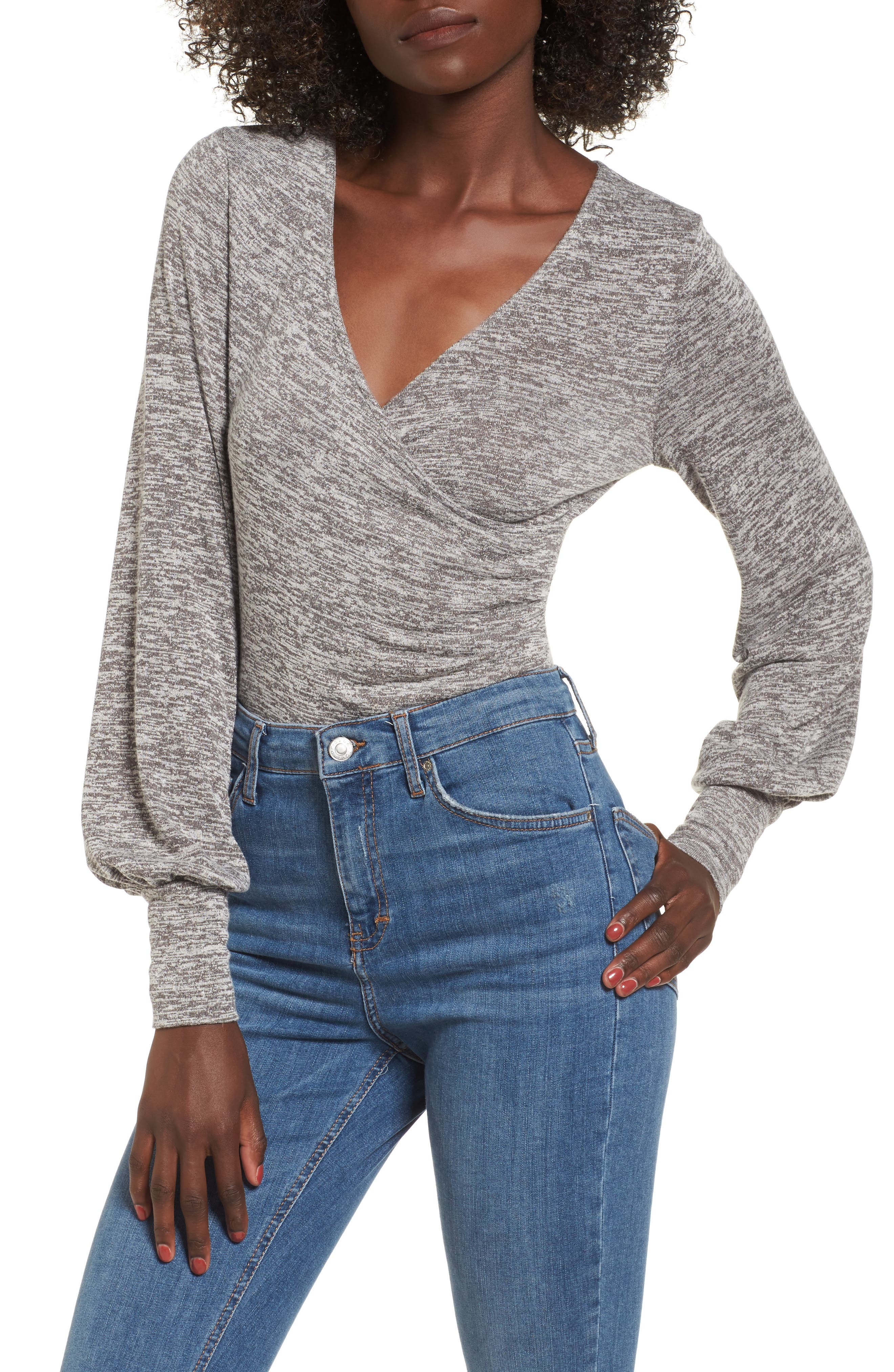 Ruched Bodysuit,                         Main,                         color, Grey Cloudy Heather