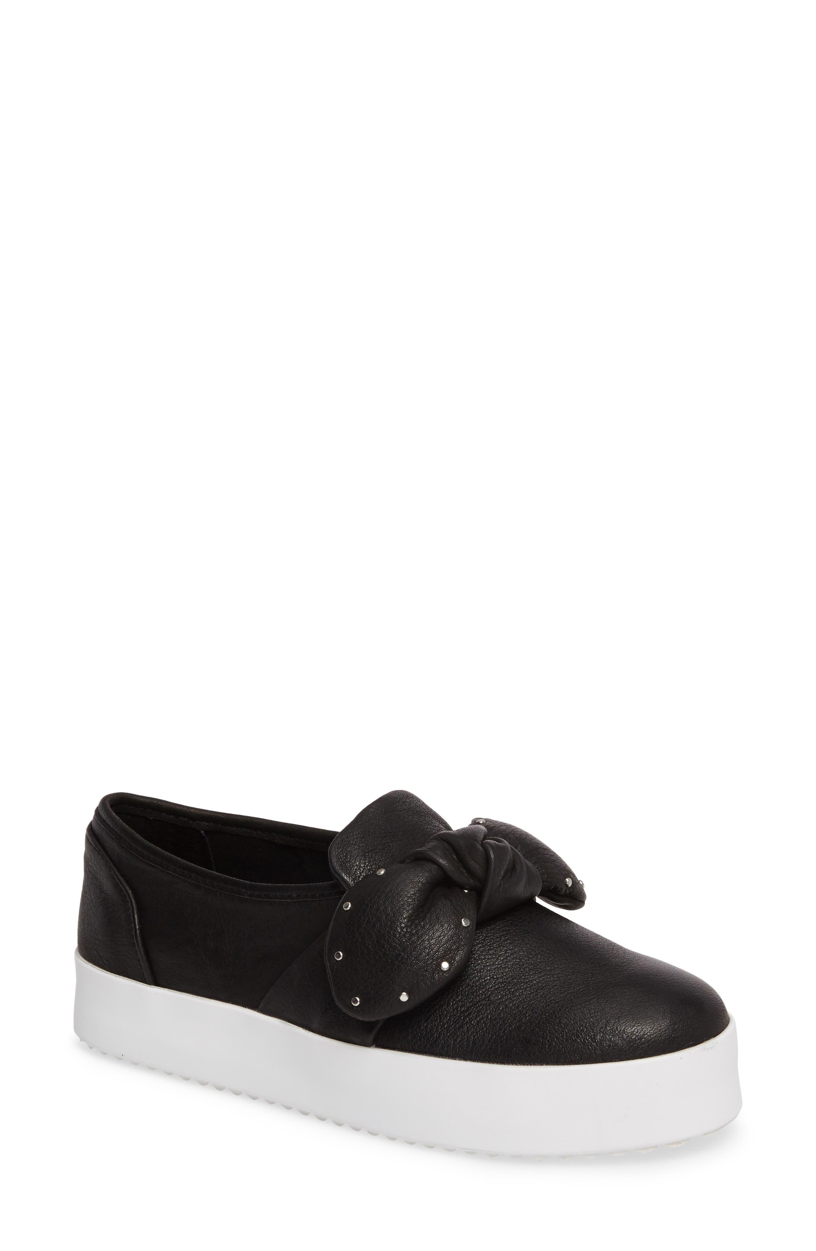 Stacey Studded Platform Slip-On,                             Main thumbnail 1, color,                             Black Leather