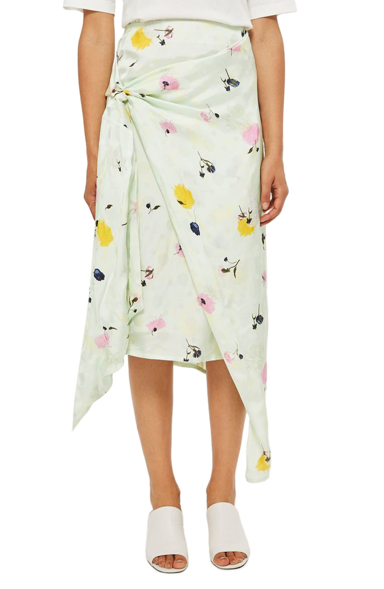Topshop Boutique Marble Bloom Print Sash Skirt