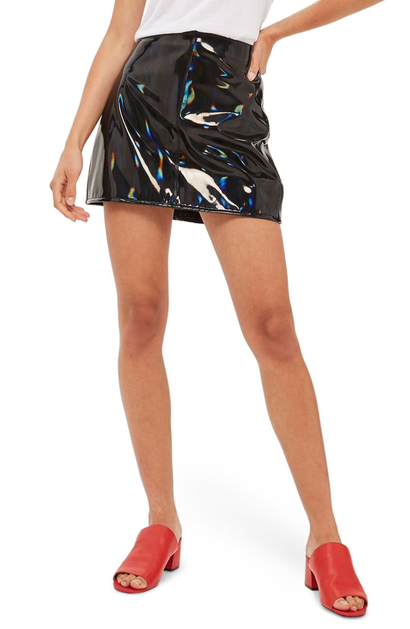 TOPSHOP Holographic Vinyl A-Line Skirt