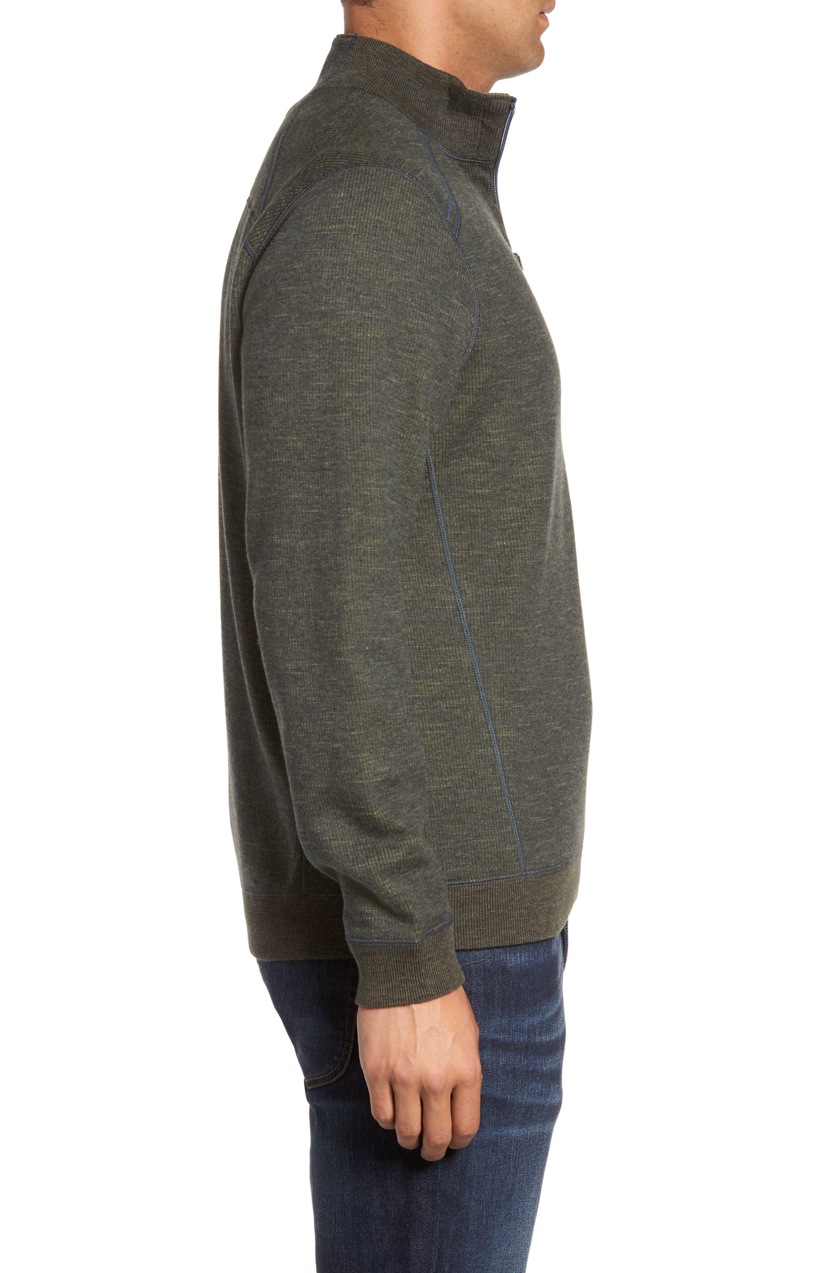 Flipsider Reversible Quarter-Zip Pullover,                             Alternate thumbnail 4, color,                             Steel Wool Heather