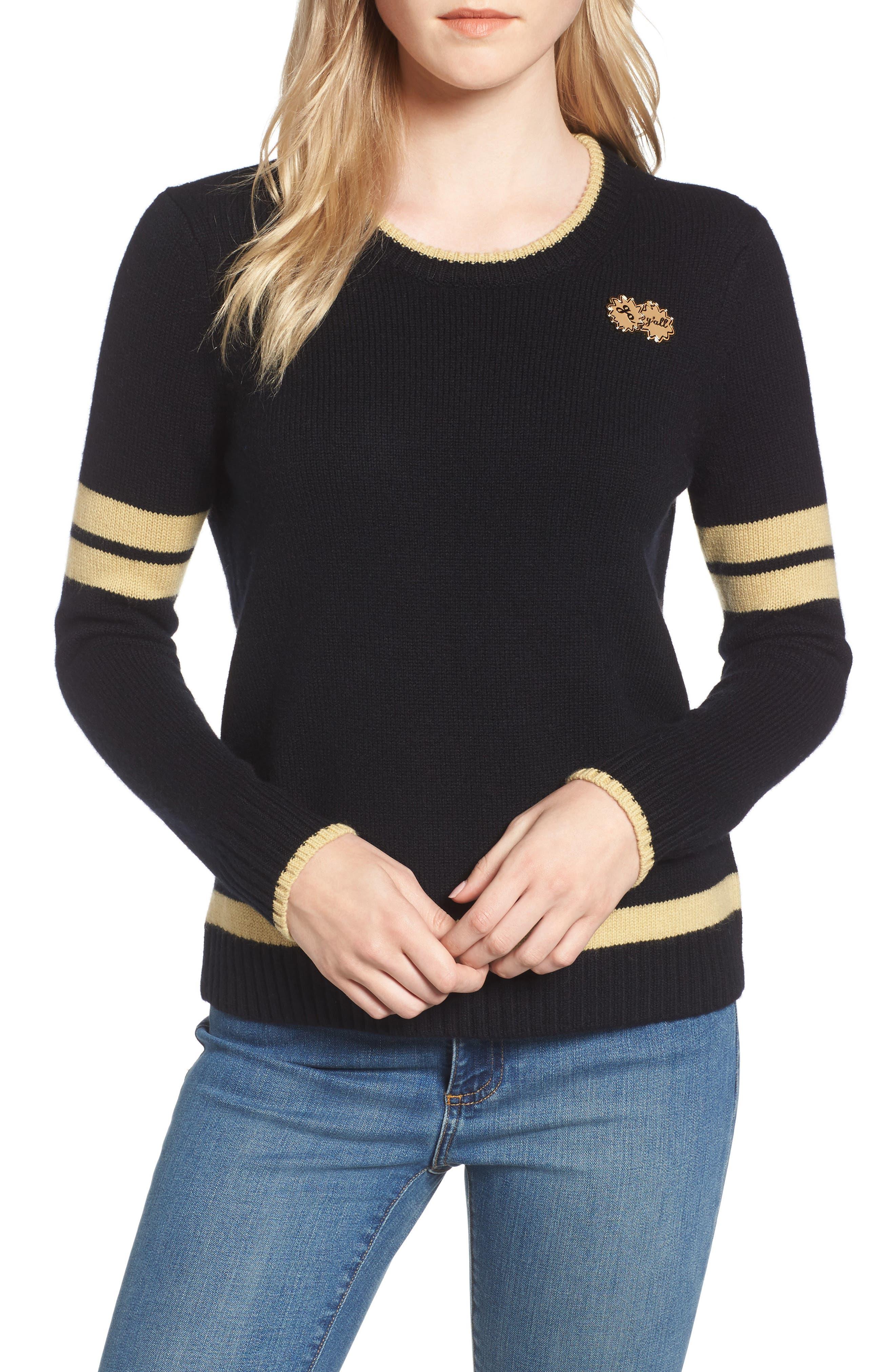 Spirit Sweater,                             Main thumbnail 1, color,                             Black/ Gold