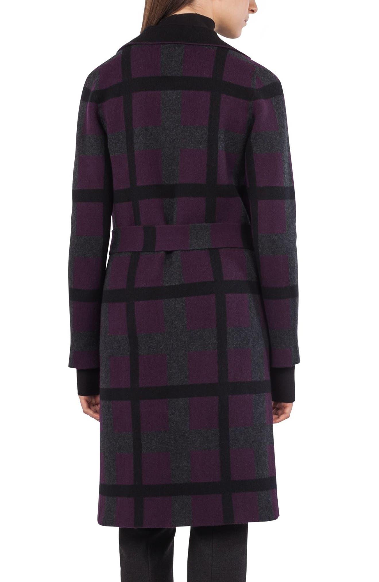 Reversible Double Face Cashmere Coat,                             Alternate thumbnail 3, color,                             Purple/ Black
