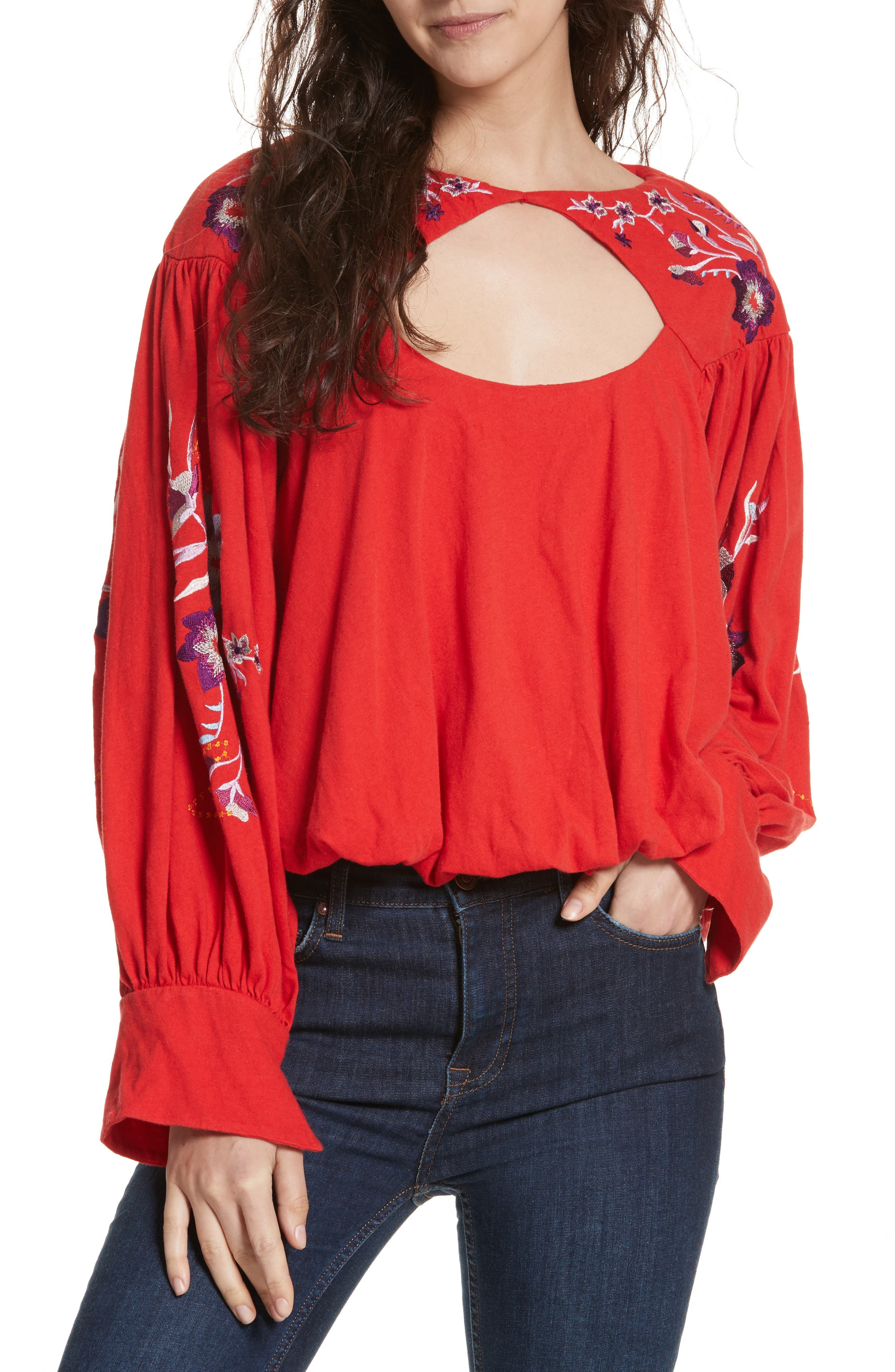 Free People Lita Embroidered Bell Sleeve Top