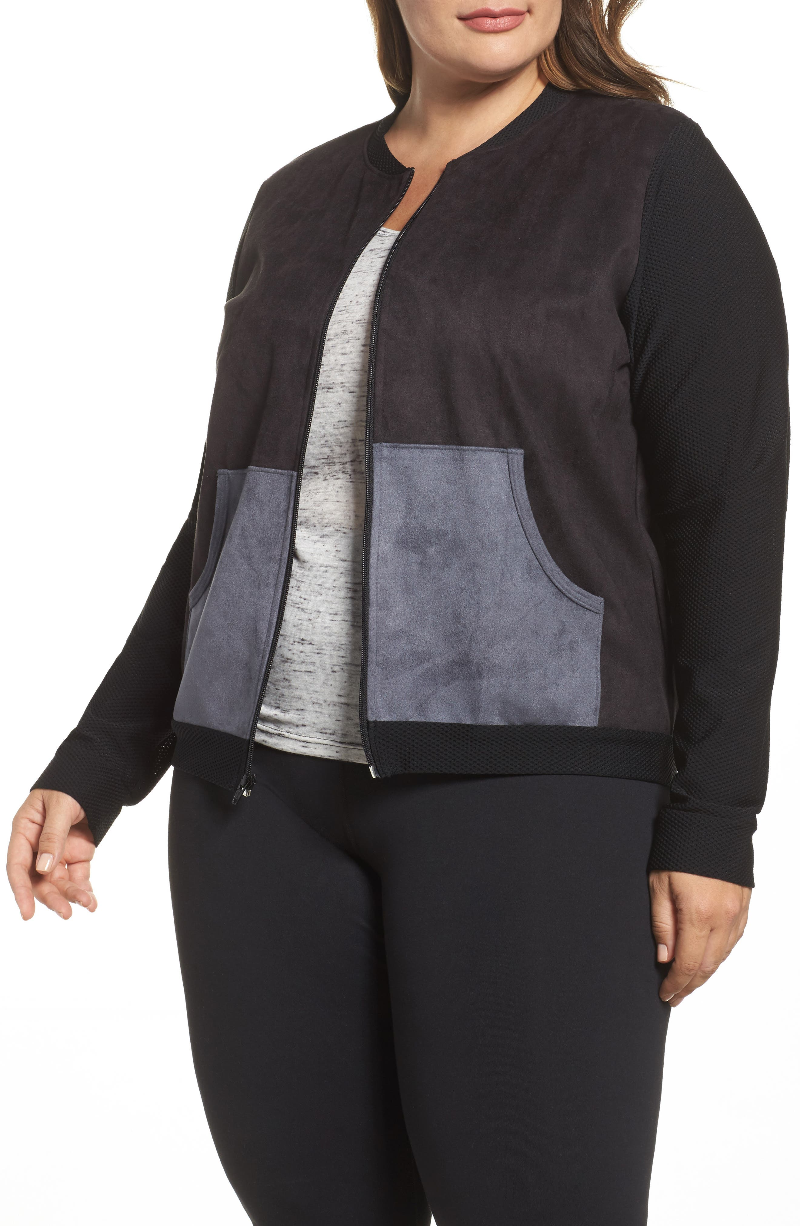 Track Jacket,                             Main thumbnail 1, color,                             Black/ Charcoal