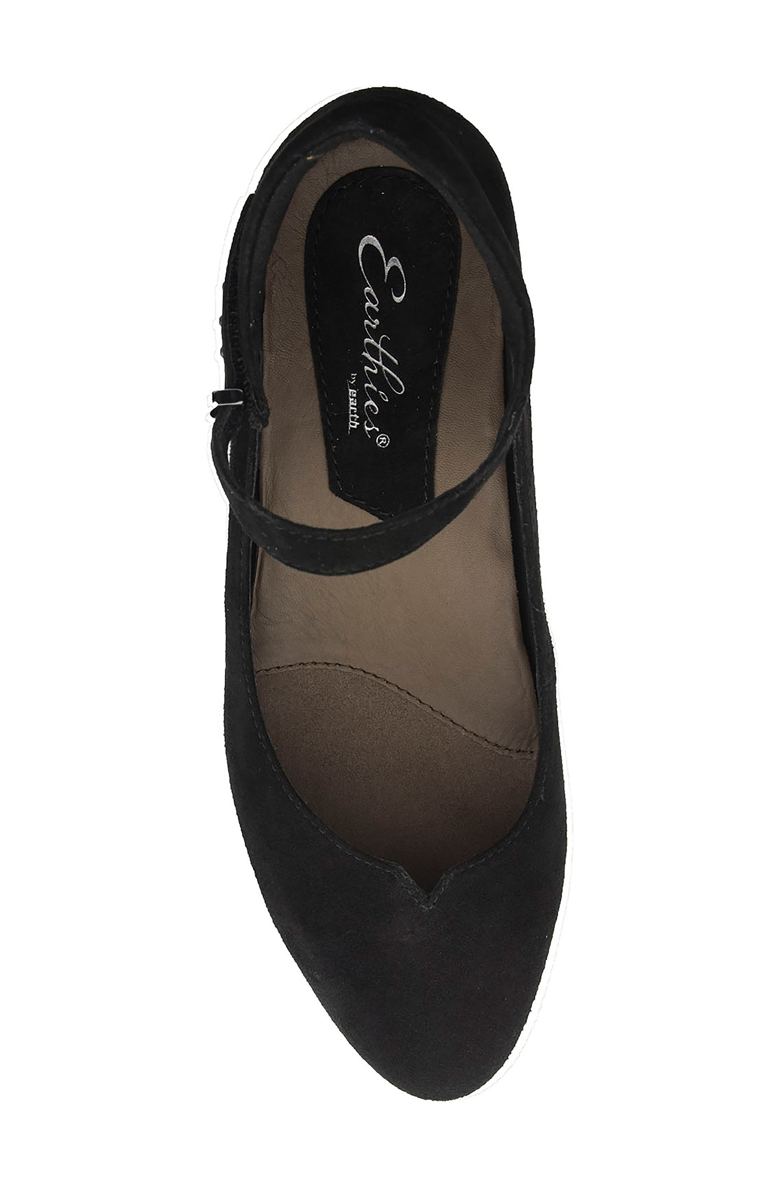 Emery Ankle Strap Flat,                             Alternate thumbnail 5, color,                             Black Suede