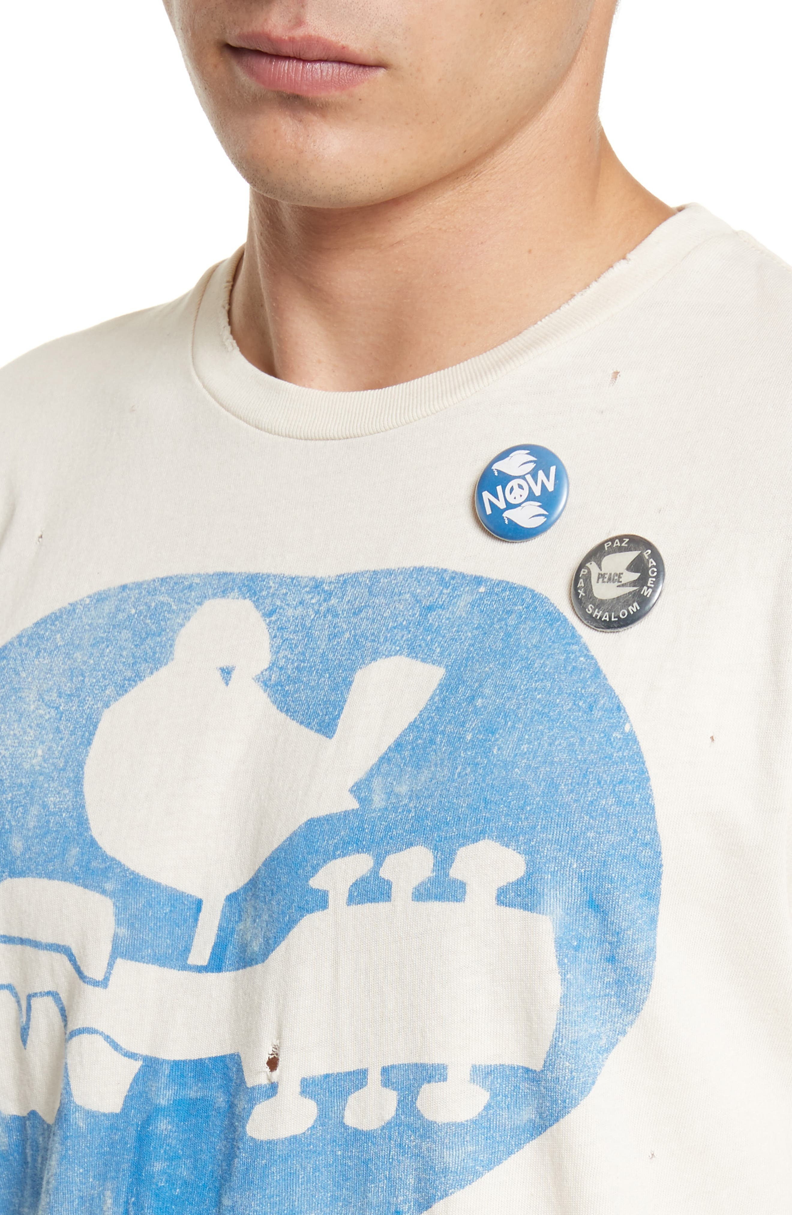 Woodstock Graphic T-Shirt with Badges,                             Alternate thumbnail 4, color,                             Dirty White