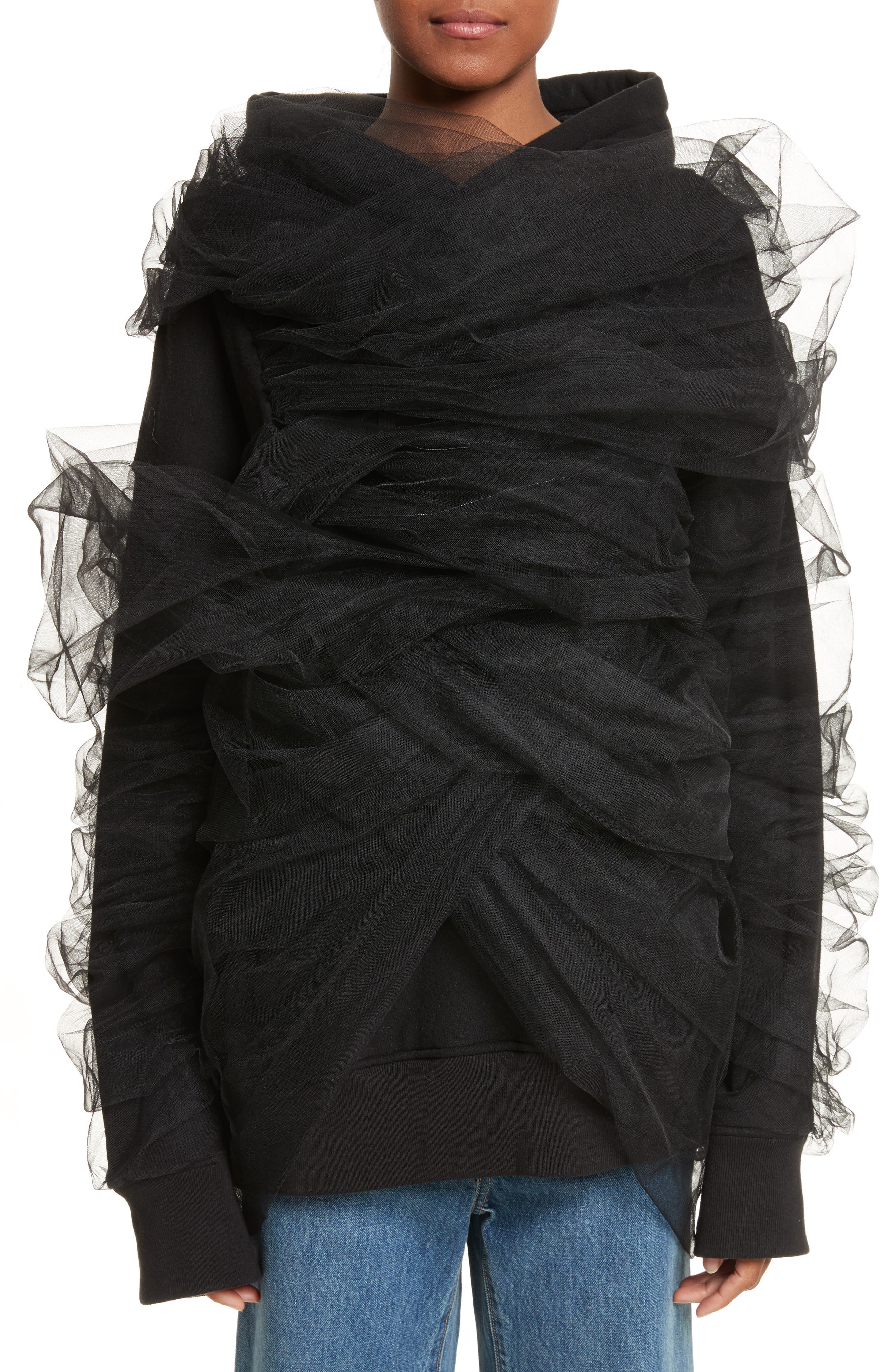Alternate Image 1 Selected - Y/PROJECT Tulle Wrapped Hoodie