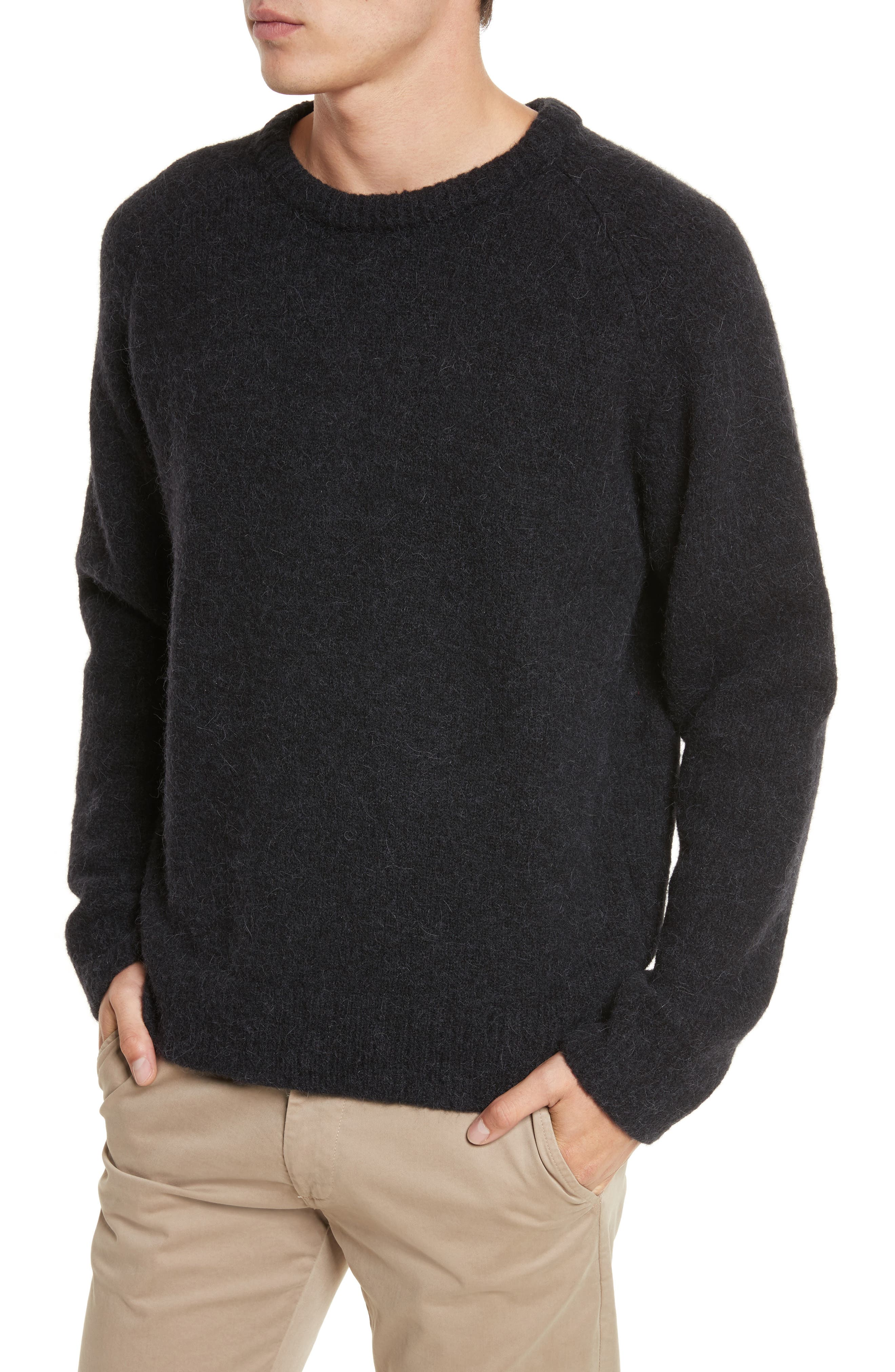 Wool Blend Crewneck Sweater,                             Alternate thumbnail 4, color,                             Black