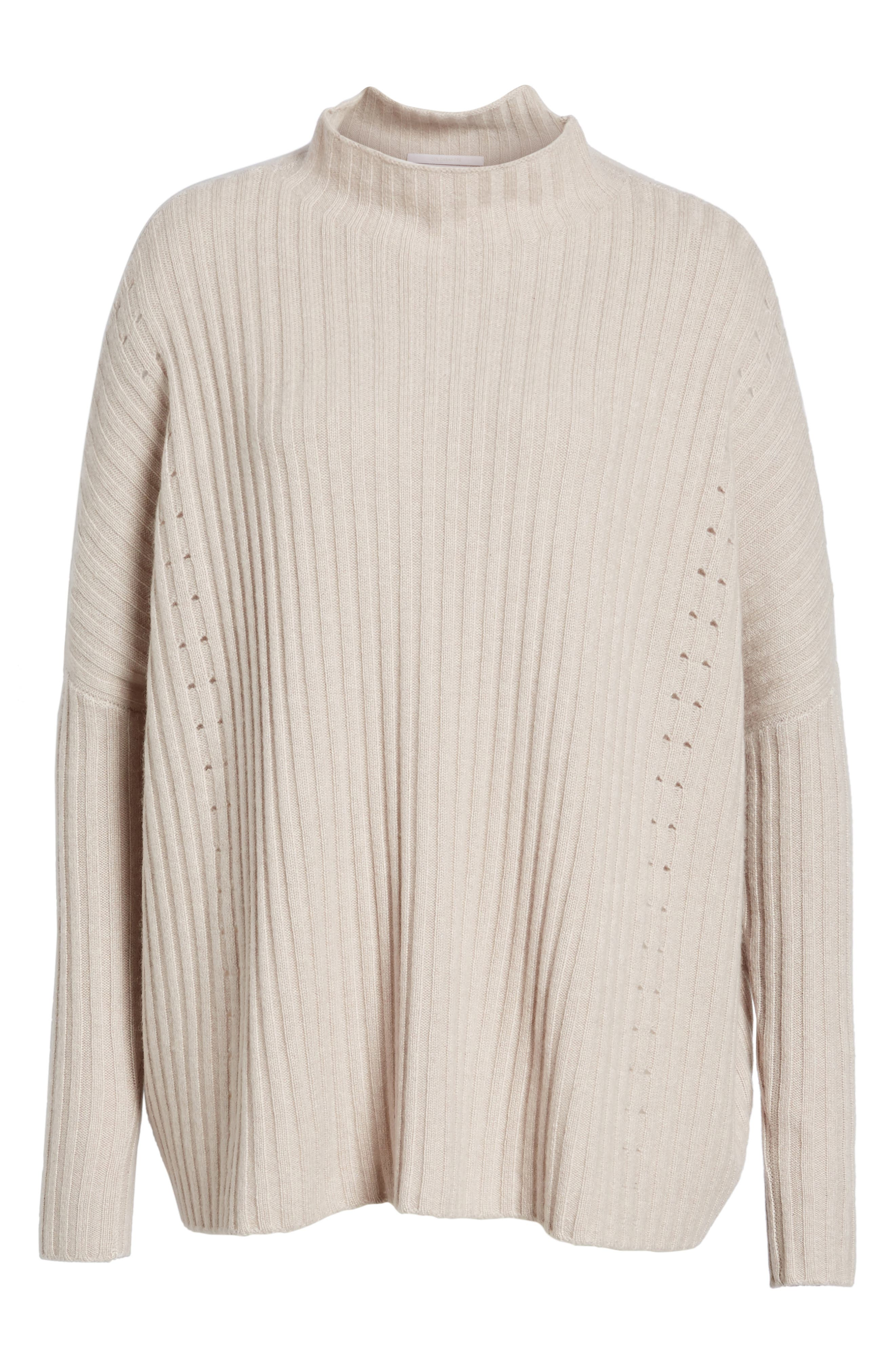 Boxy Ribbed Cashmere Sweater,                             Alternate thumbnail 6, color,                             Beige Pumice Heather