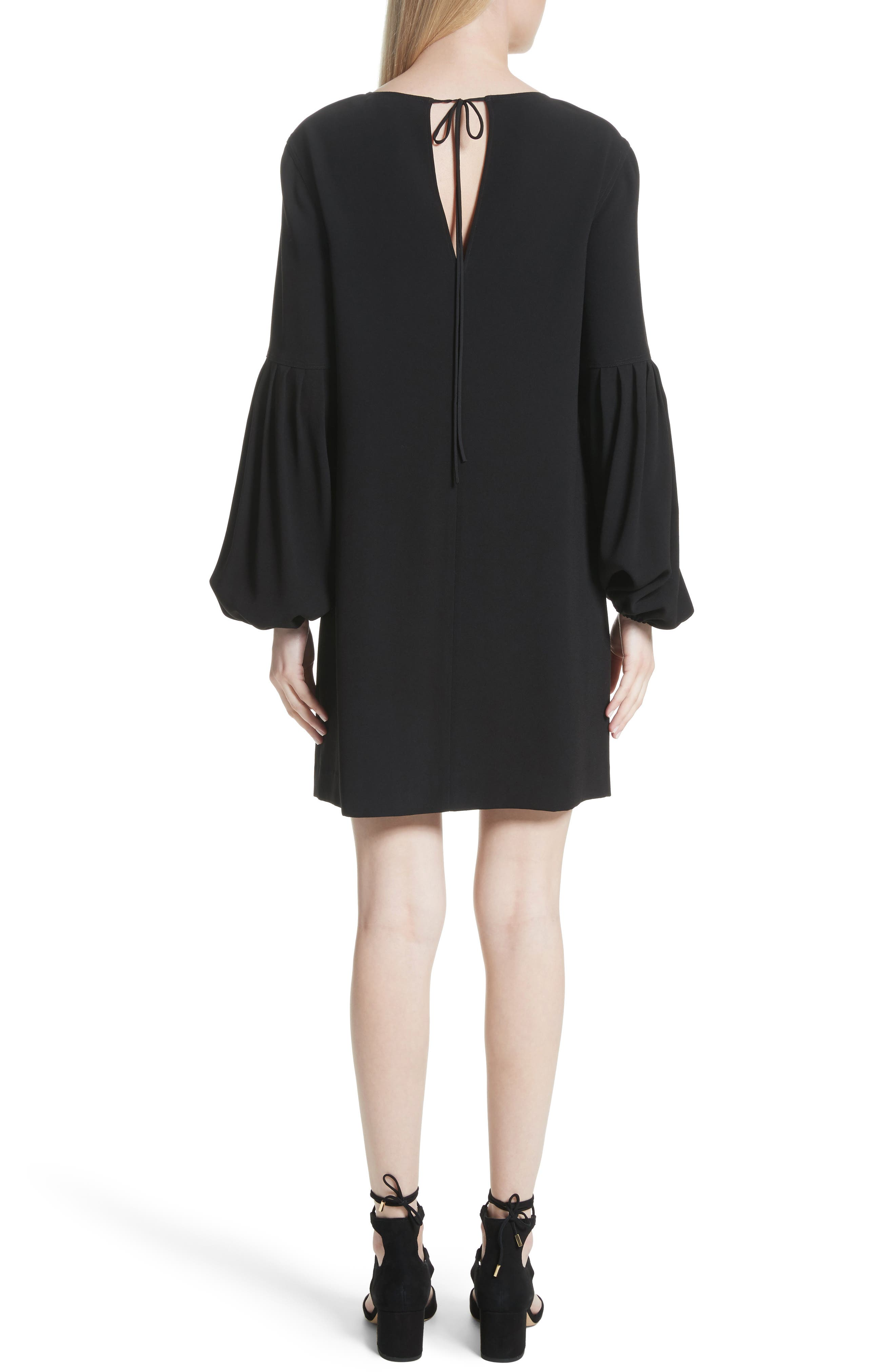Claudia Puff Sleeve Dress,                             Alternate thumbnail 2, color,                             Black