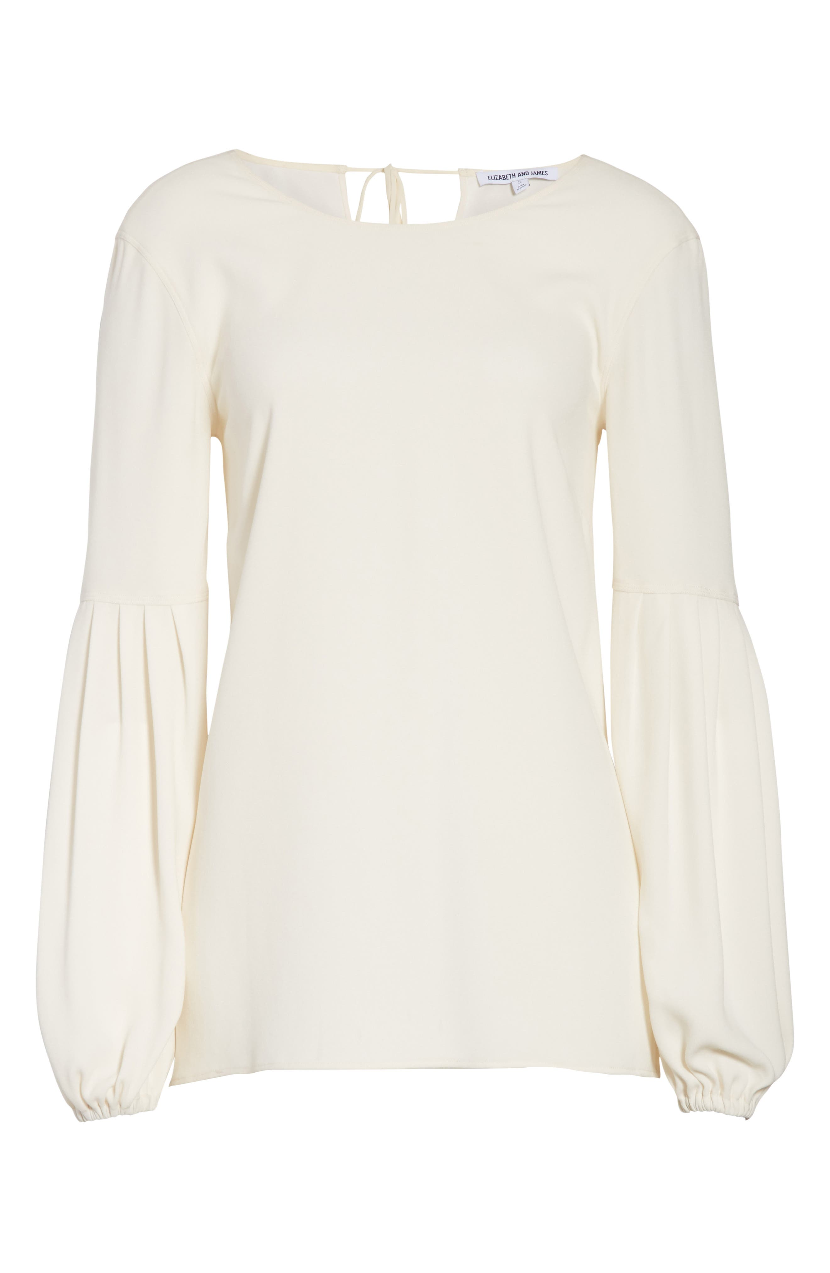 Harriet Puff Sleeve Blouse,                             Alternate thumbnail 7, color,                             Alabaster