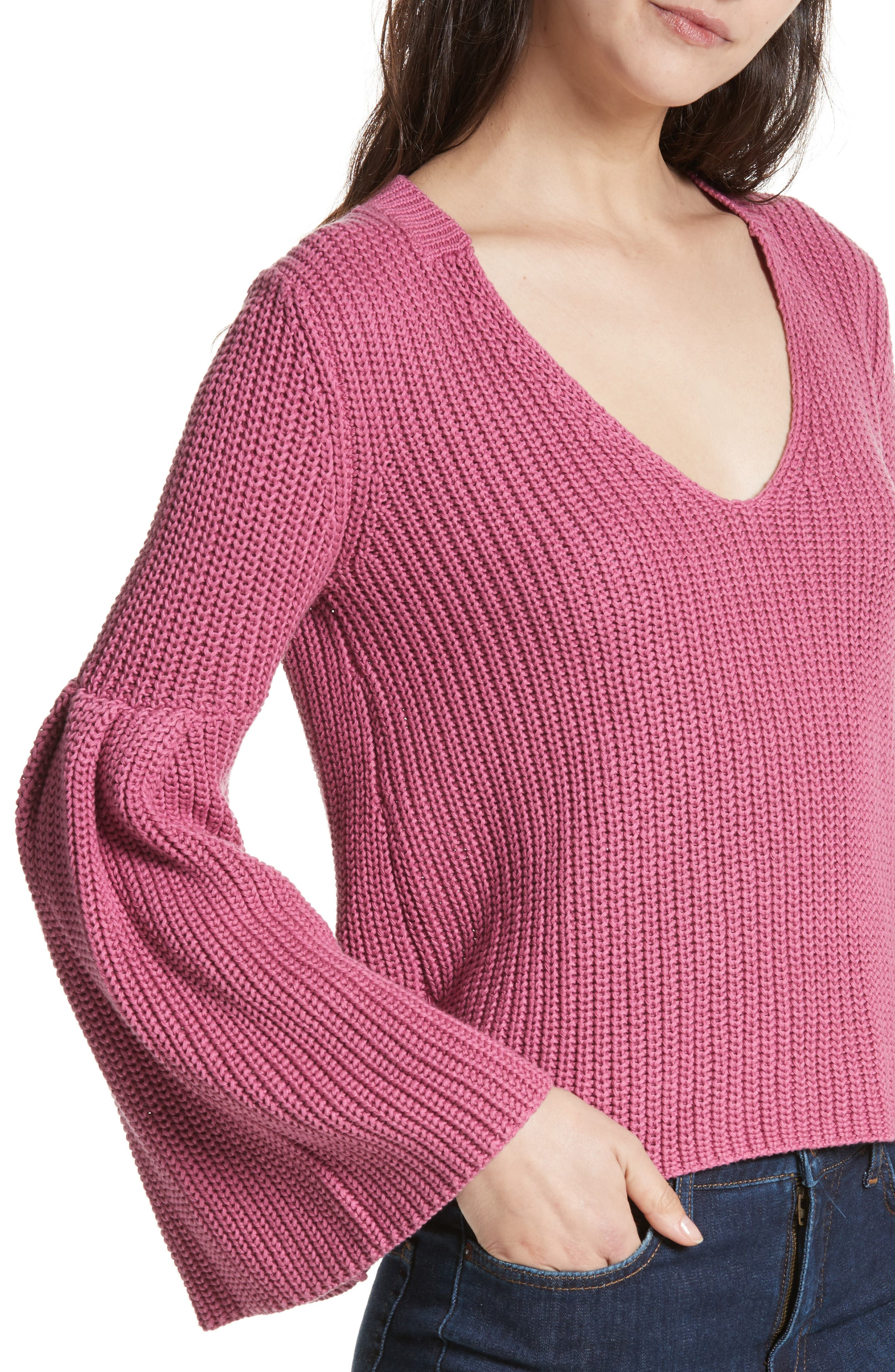Damsel Bell Sleeve Pullover,                             Alternate thumbnail 4, color,                             Rose