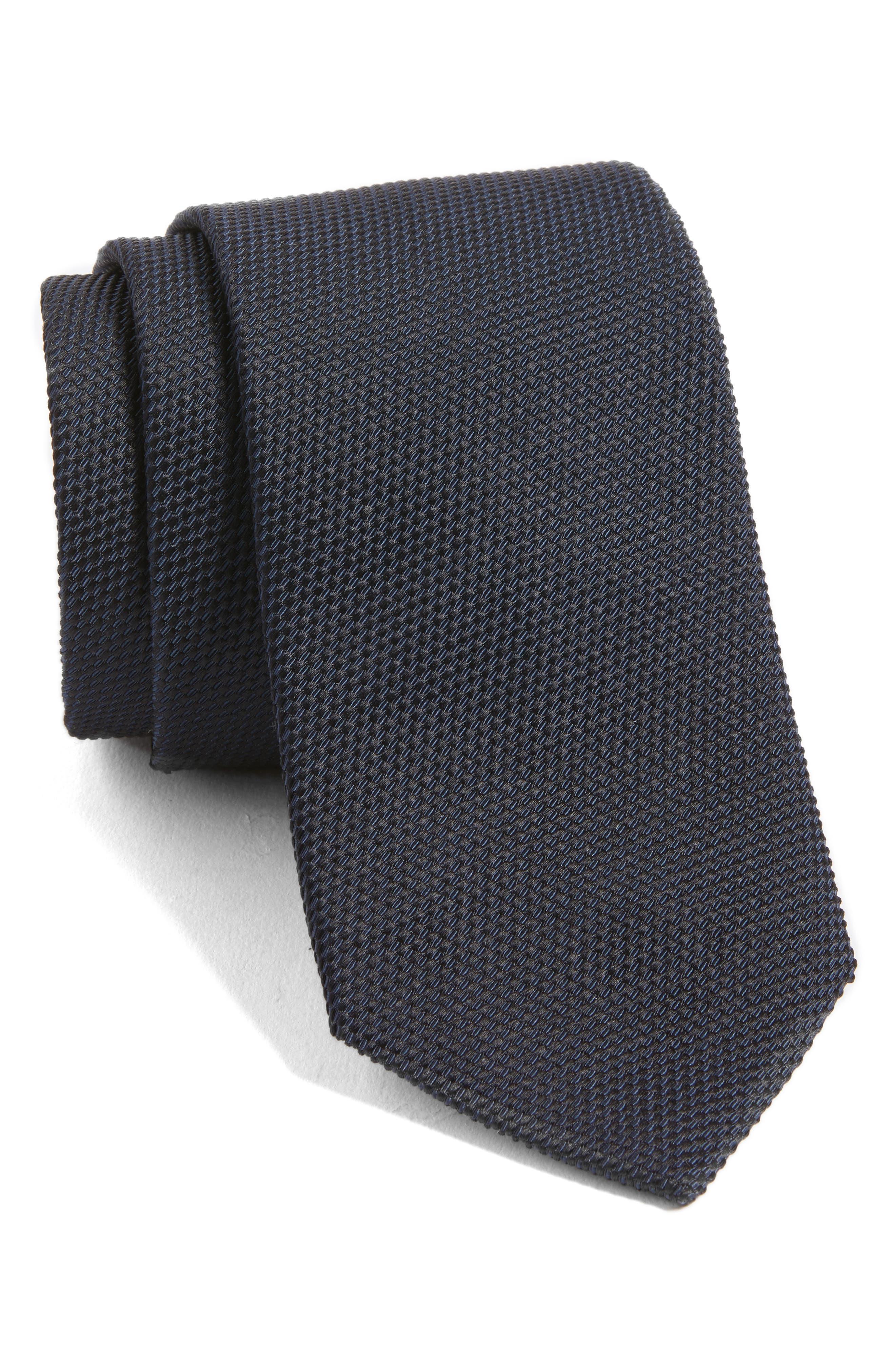 Solid Silk Tie,                         Main,                         color, Dark Blue
