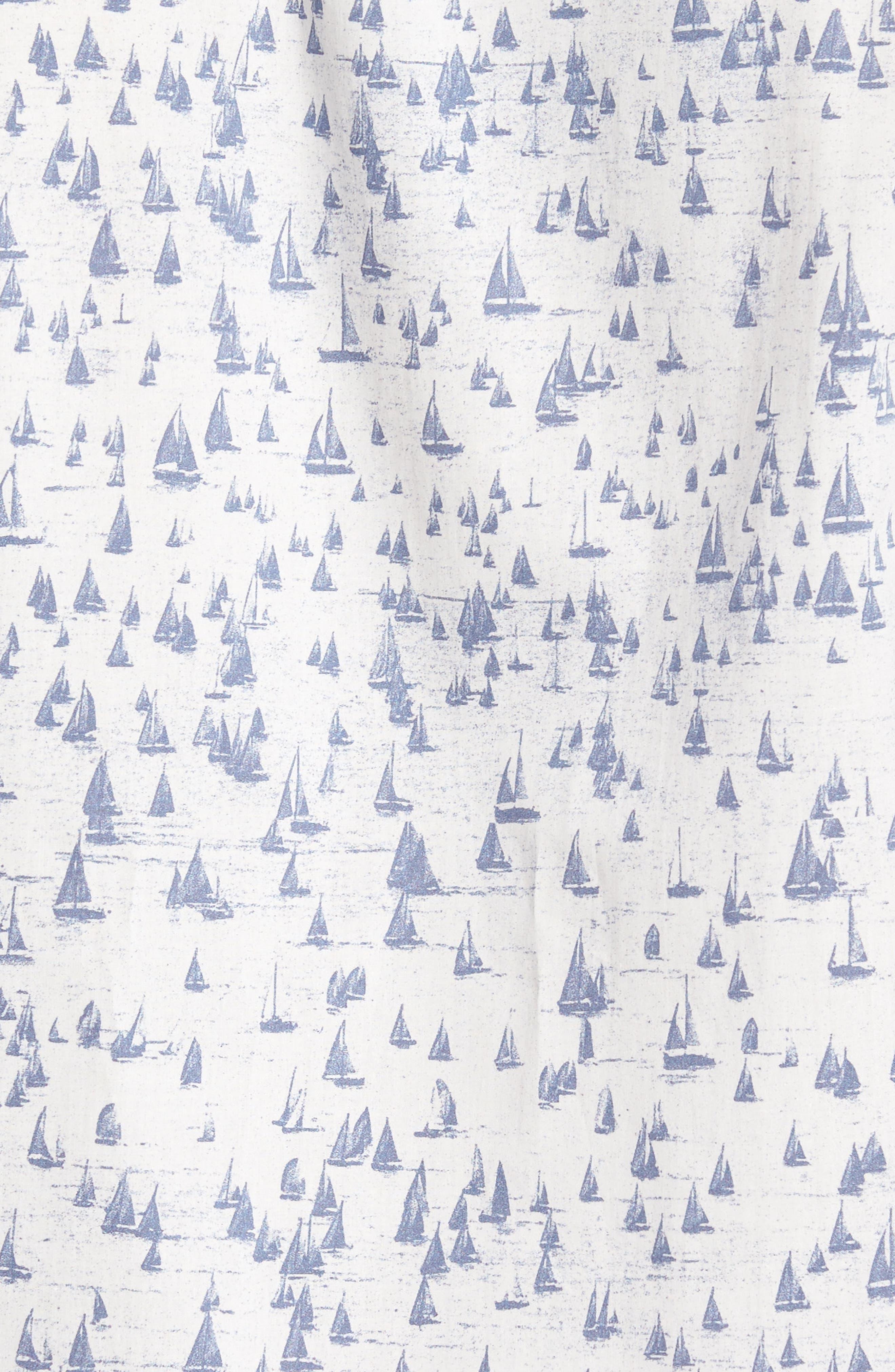 Smooth Sailin' Print Woven Shirt,                             Alternate thumbnail 5, color,                             Avio Blue
