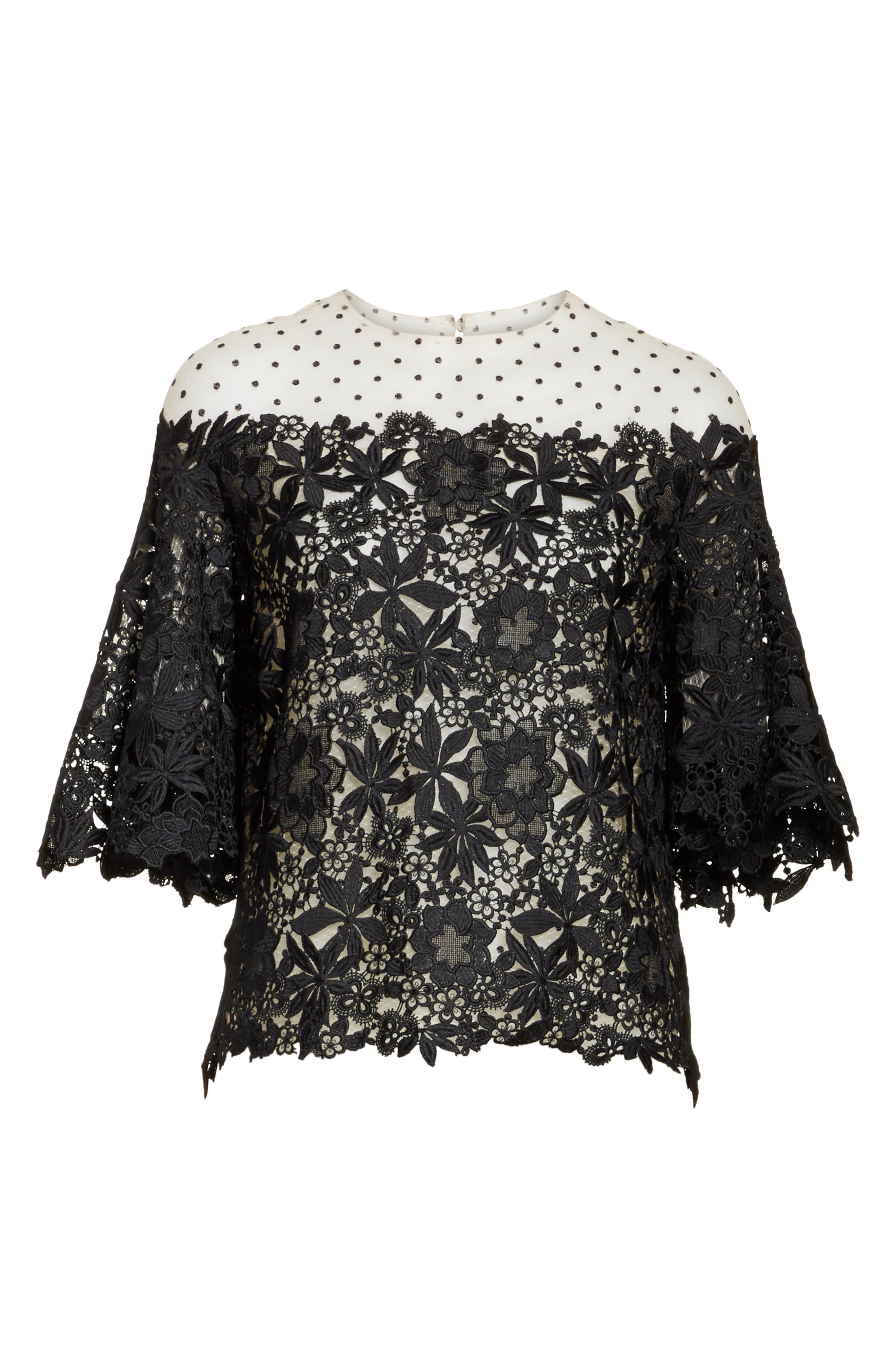 Alternate Image 7  - Monique Lhuillier Lace & Dot Flutter Sleeve Top