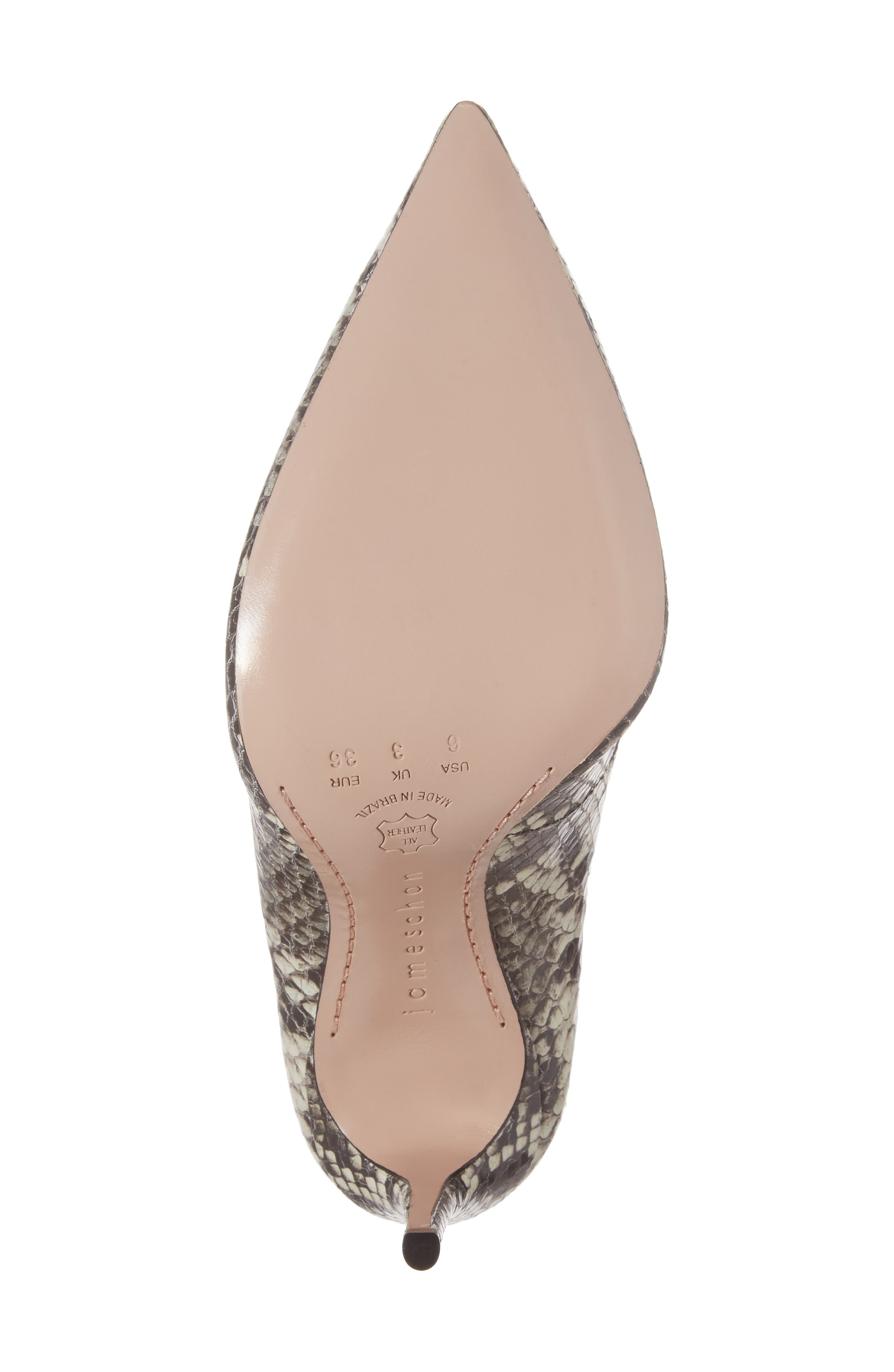 Anika II Curved Pump,                             Alternate thumbnail 6, color,                             Natural Embossed Leather