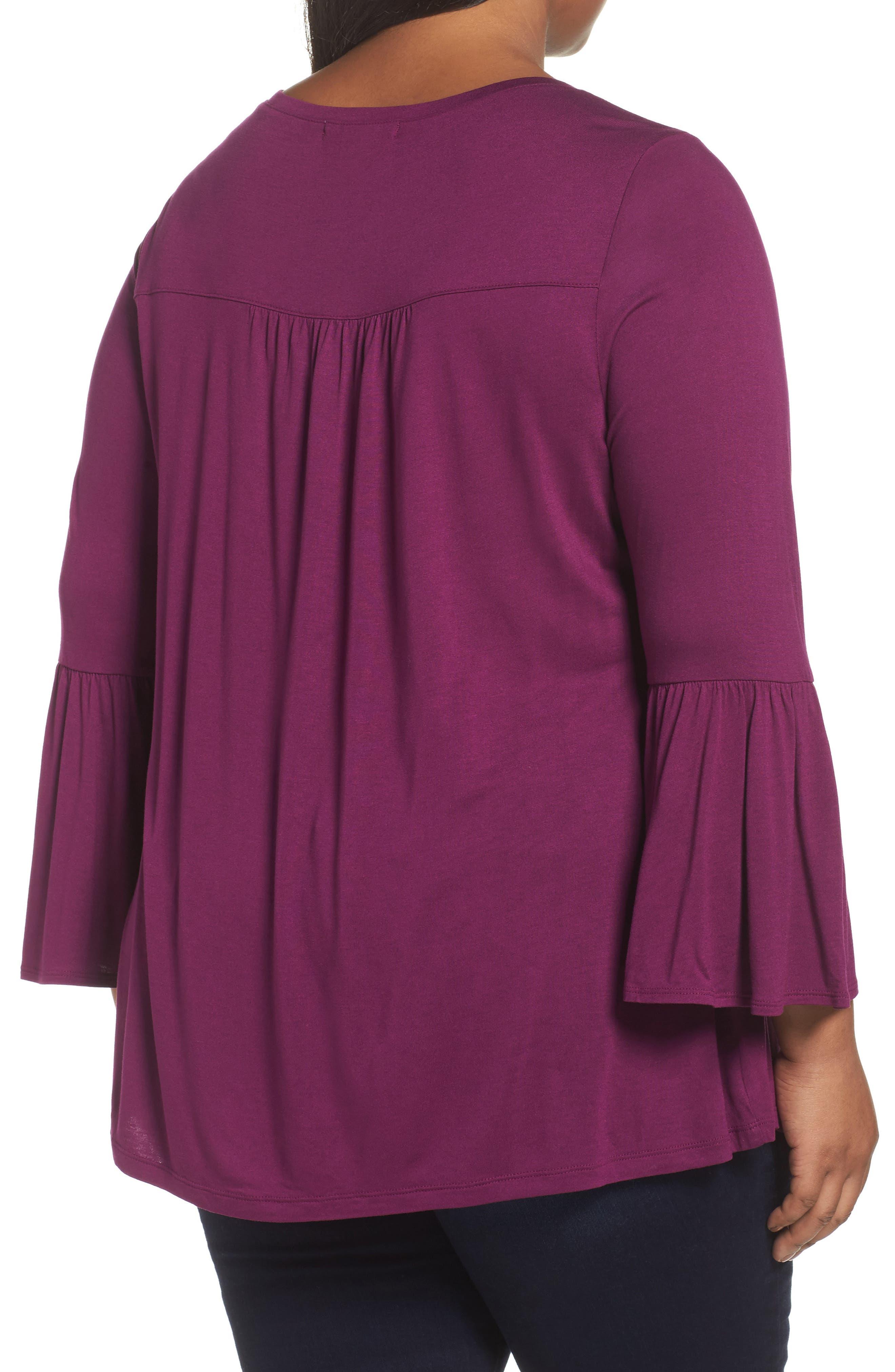 Bell Sleeve Tee,                             Alternate thumbnail 2, color,                             Purple Dark