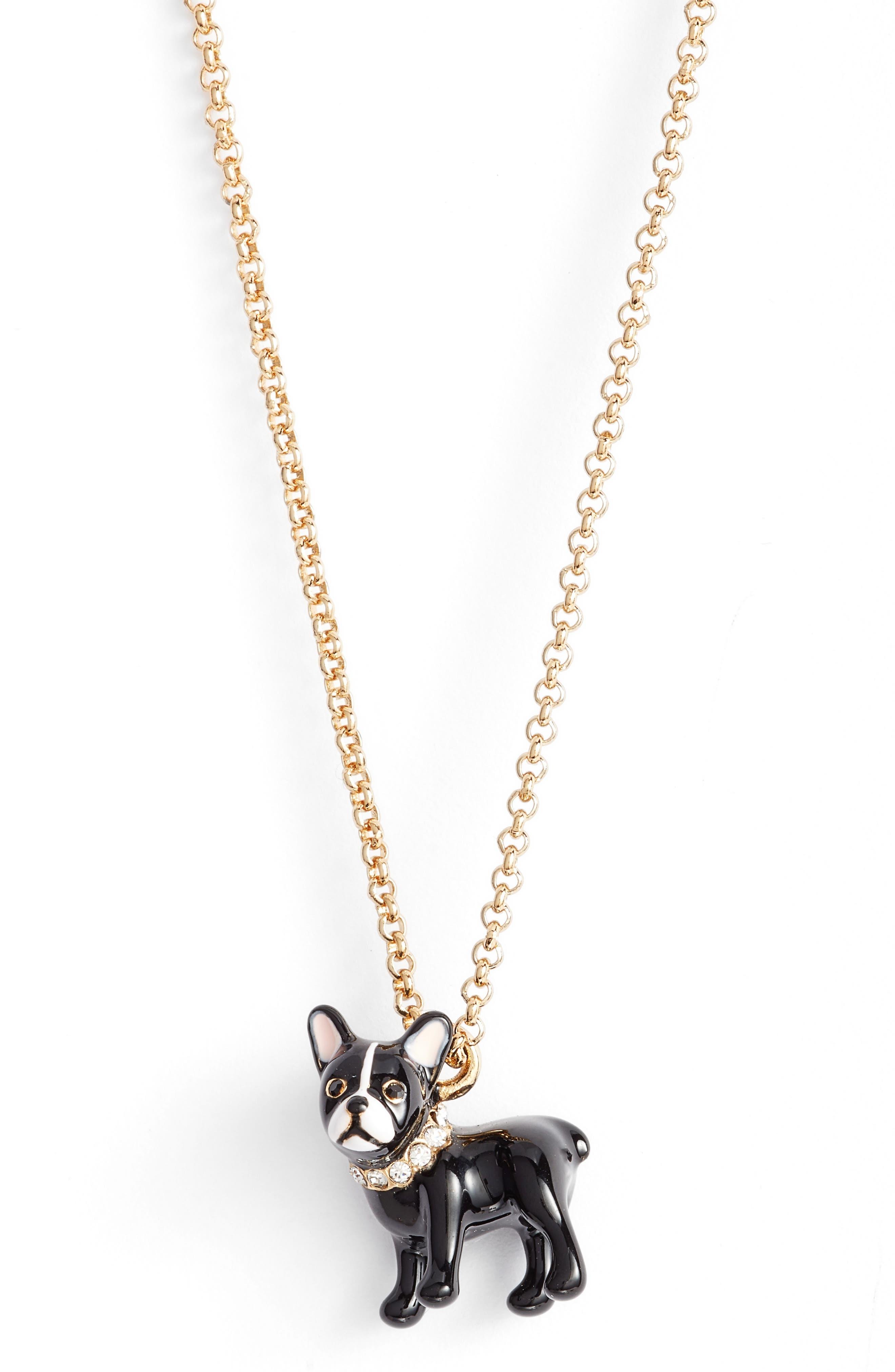 ma cherie antoine dog pendant necklace,                             Alternate thumbnail 2, color,                             Gold Multi