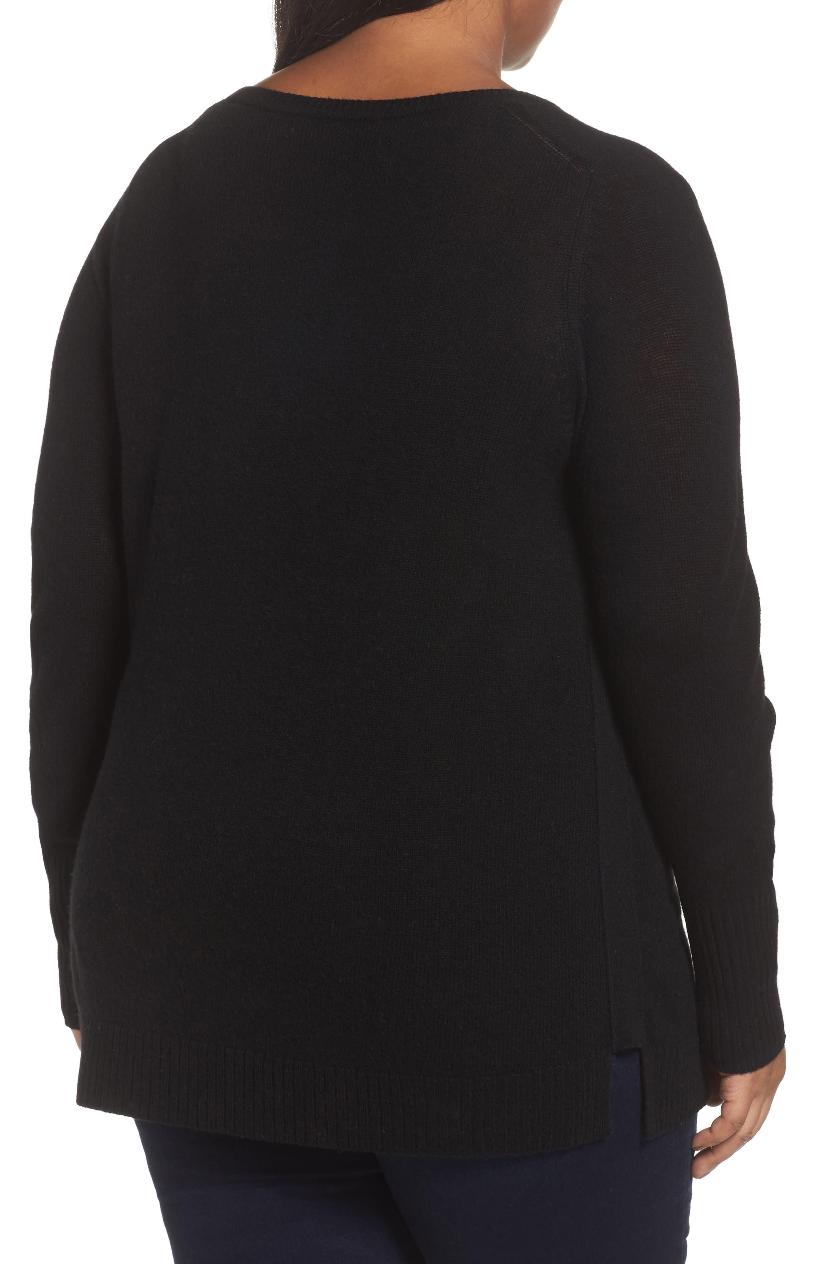 Crewneck Side Split Wool & Cashmere Pullover,                             Alternate thumbnail 2, color,                             Black