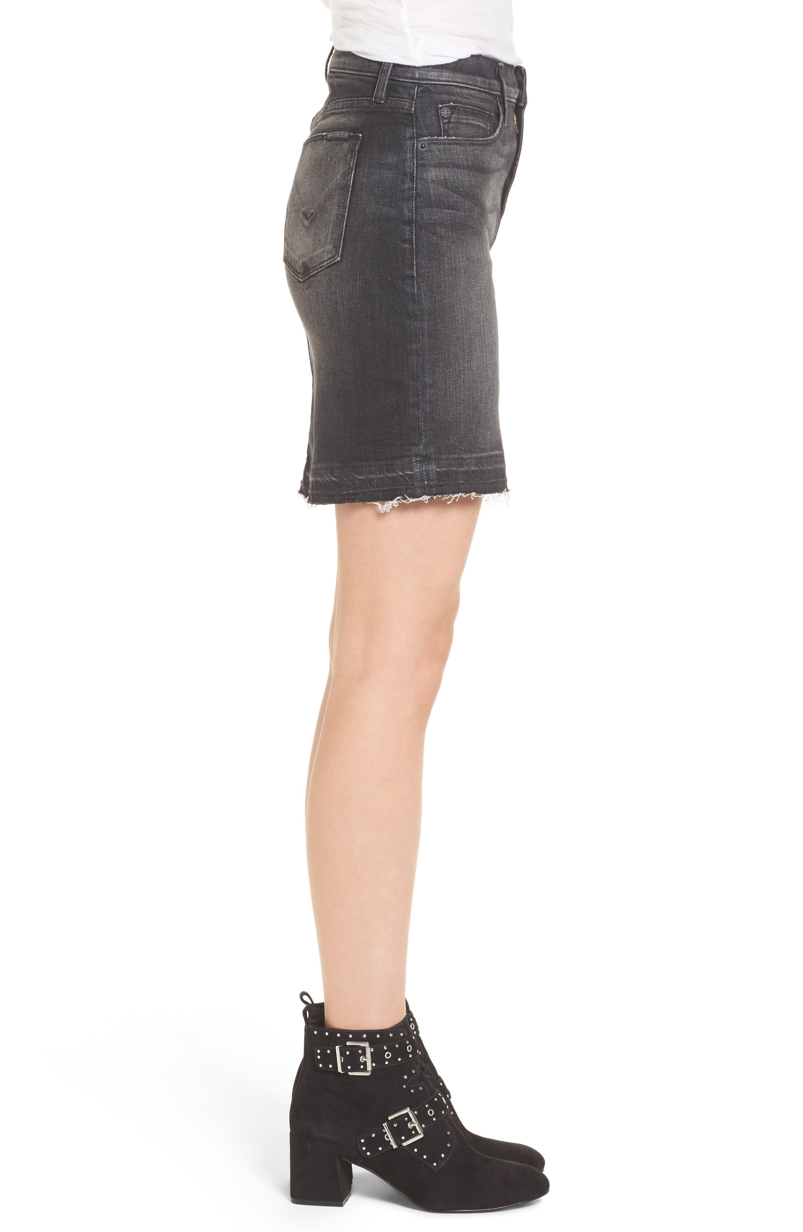 Robbie Cutoff Denim Miniskirt,                             Alternate thumbnail 3, color,                             Black