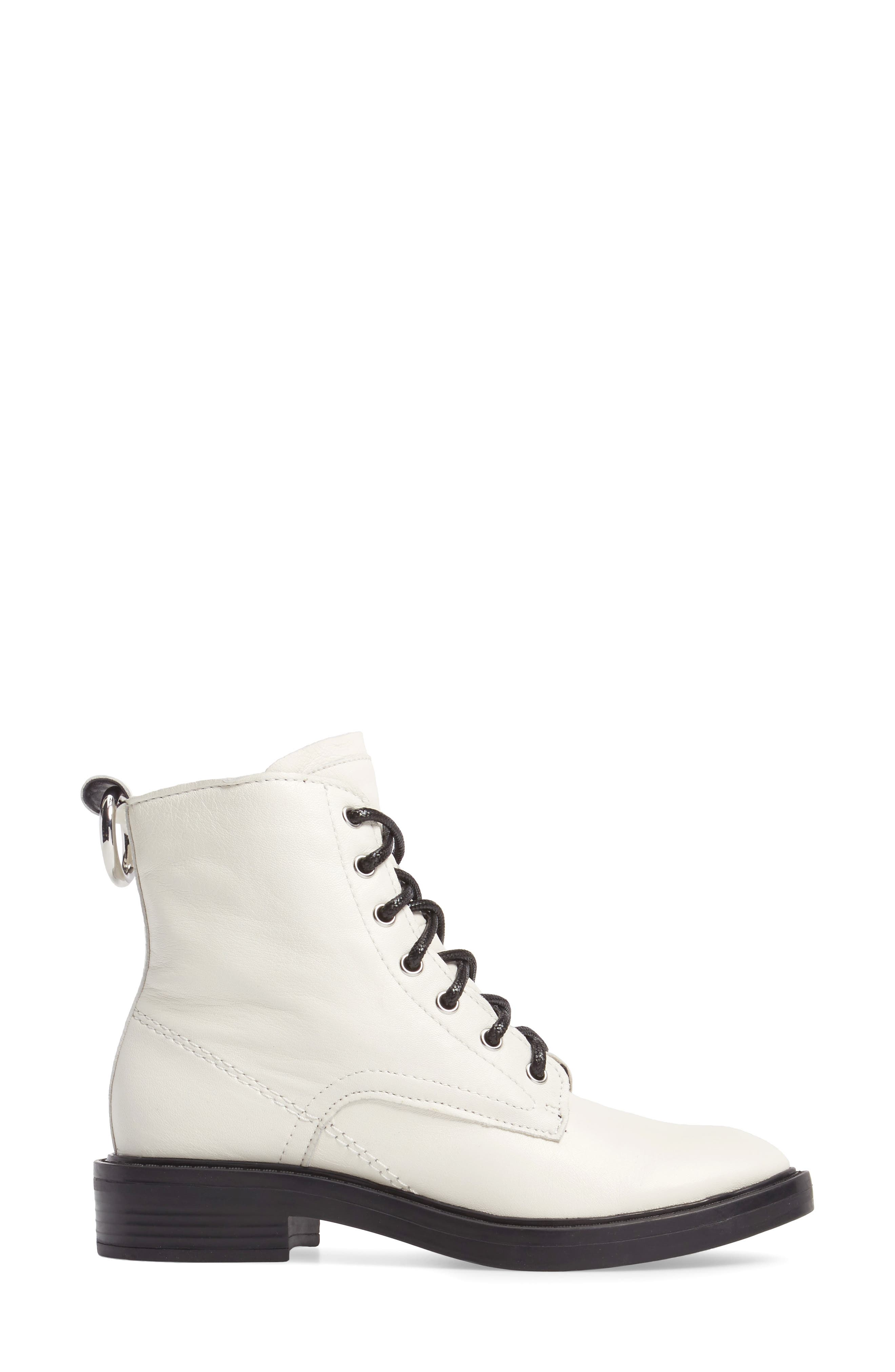Combat Boot,                             Alternate thumbnail 3, color,                             Off White Lea