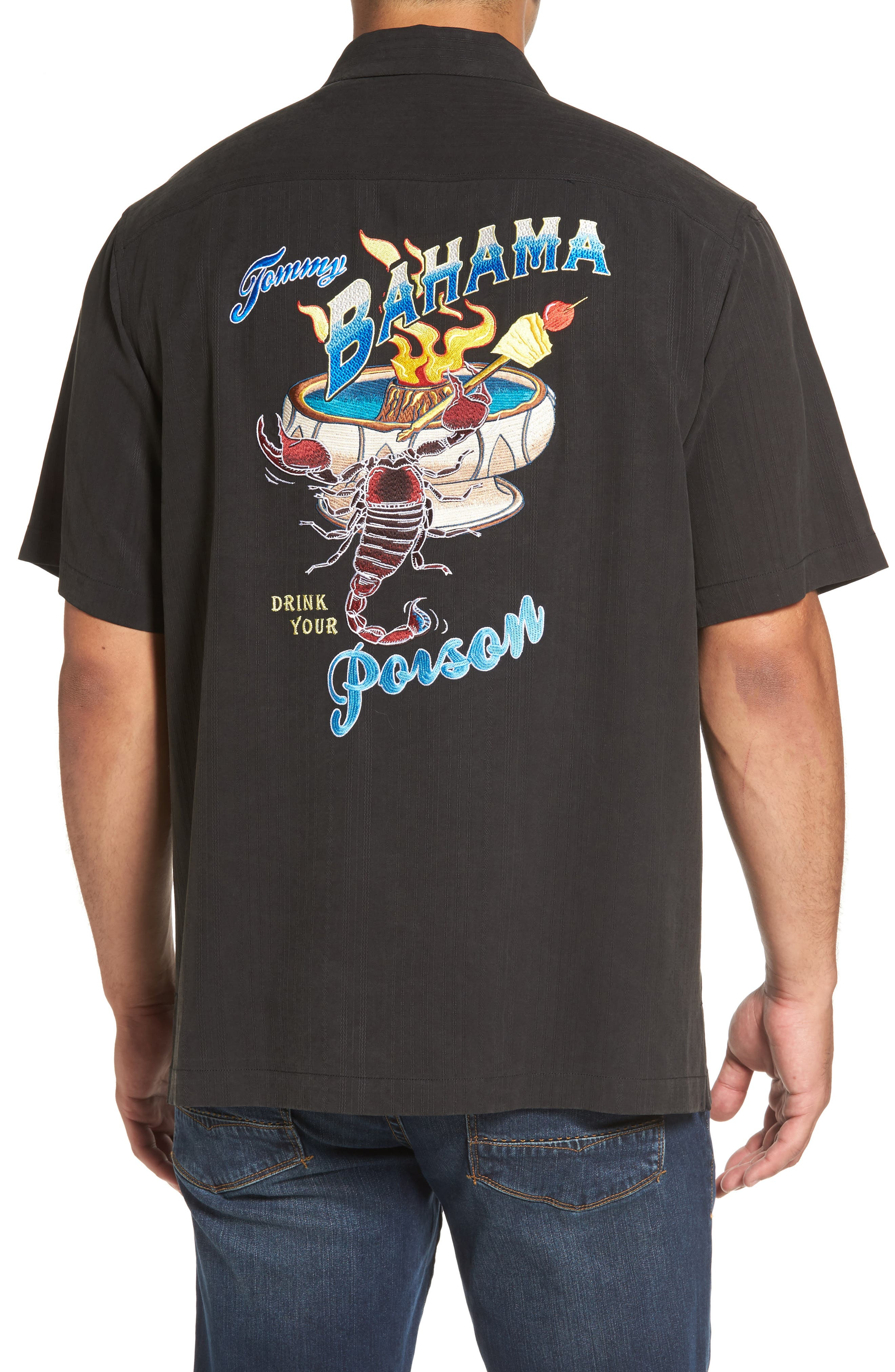 Drink Your Poison Embroidered Silk Woven Shirt,                         Main,                         color, Black