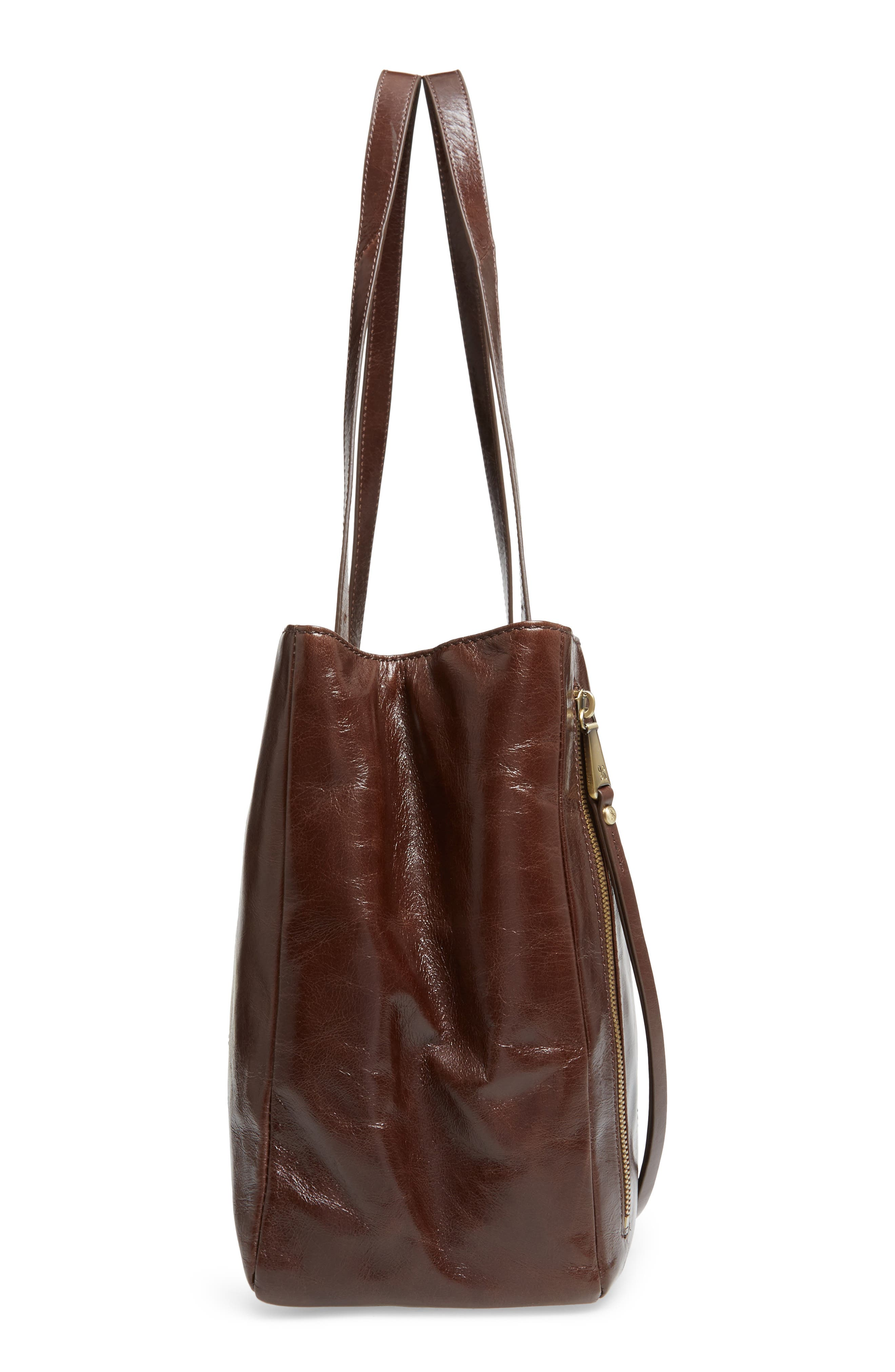 Cabot Calfskin Leather Tote,                             Alternate thumbnail 4, color,                             Espresso