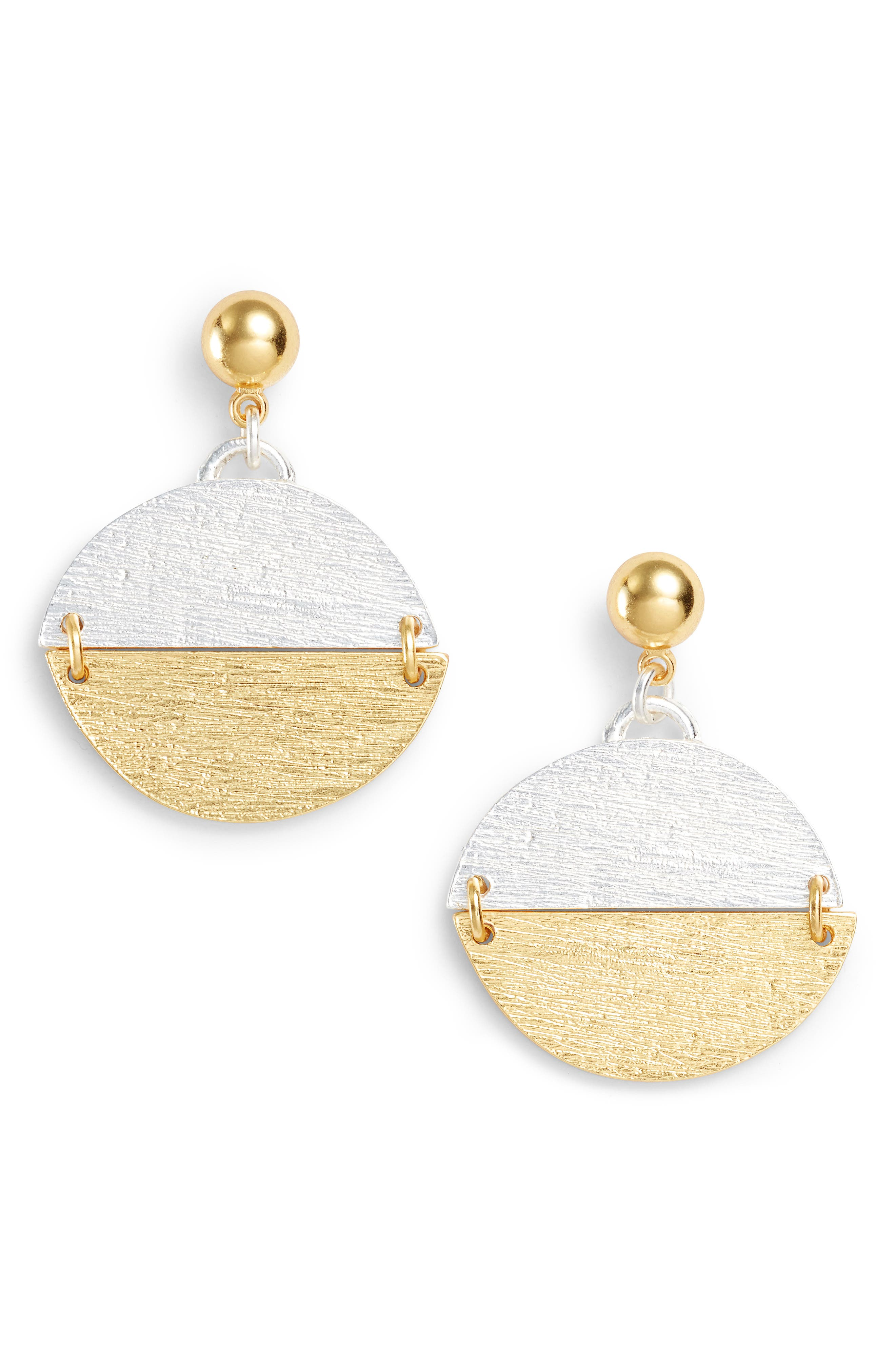 Pendant Drop Earrings,                         Main,                         color, Gold/Silver Mix