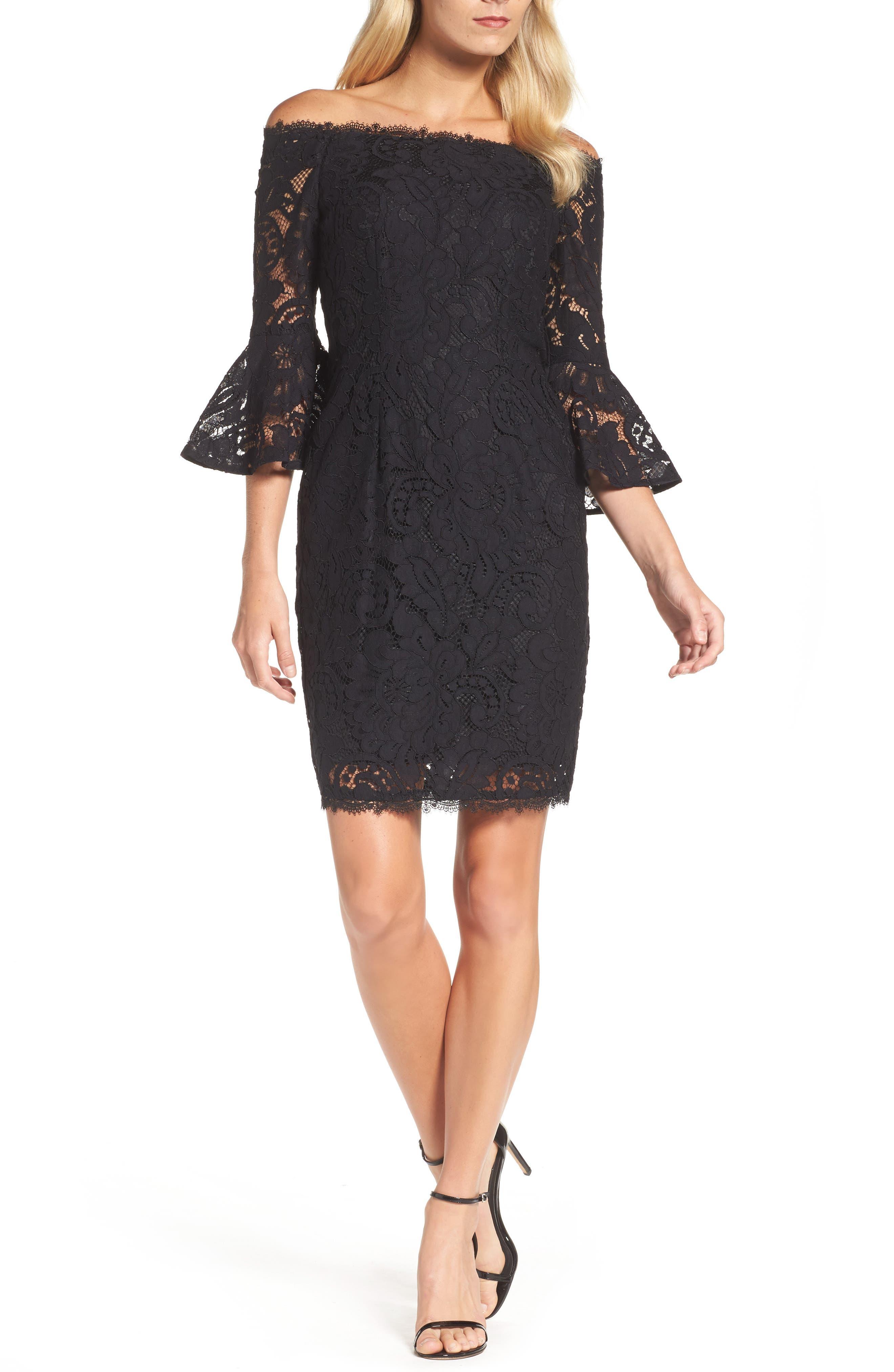 Off the Shoulder Lace Sheath Dress,                         Main,                         color, Black