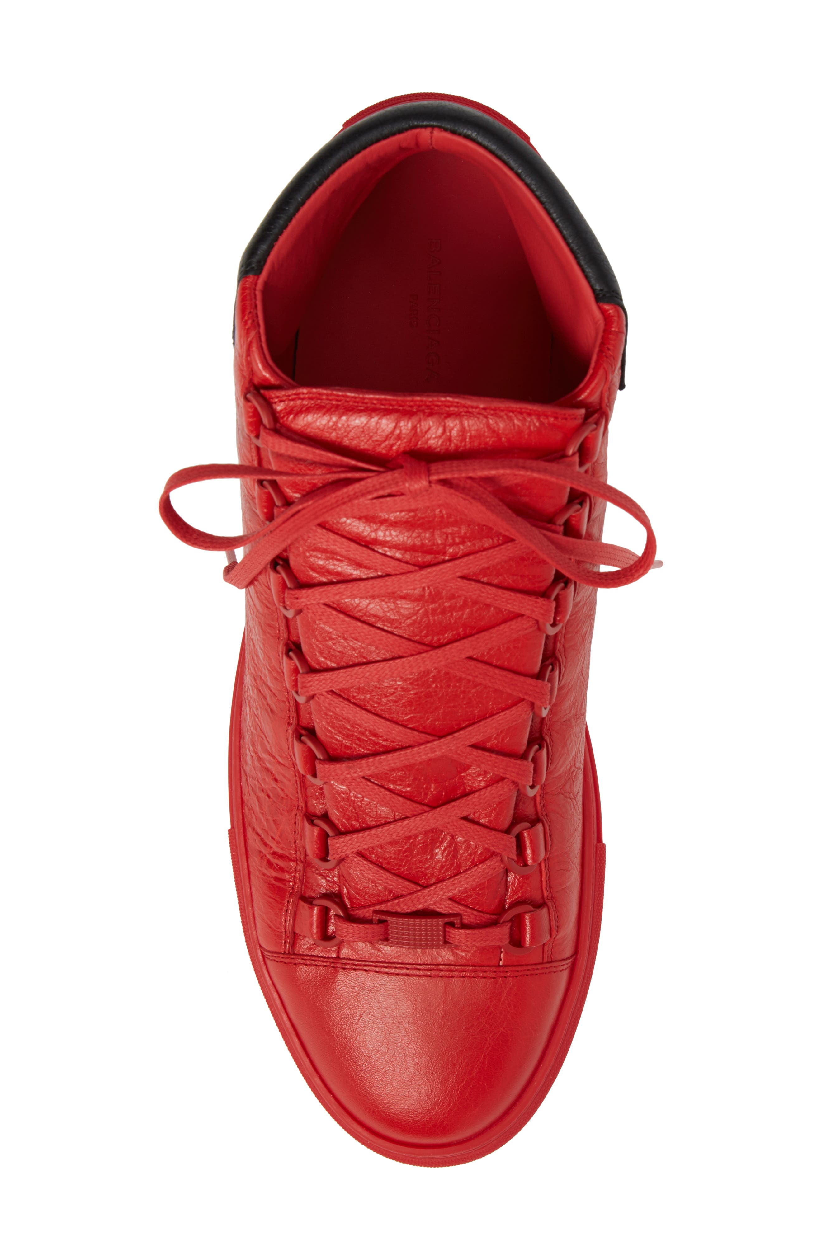 Arena High Sneaker,                             Alternate thumbnail 5, color,                             Rouge Paprika/ Noir Leather