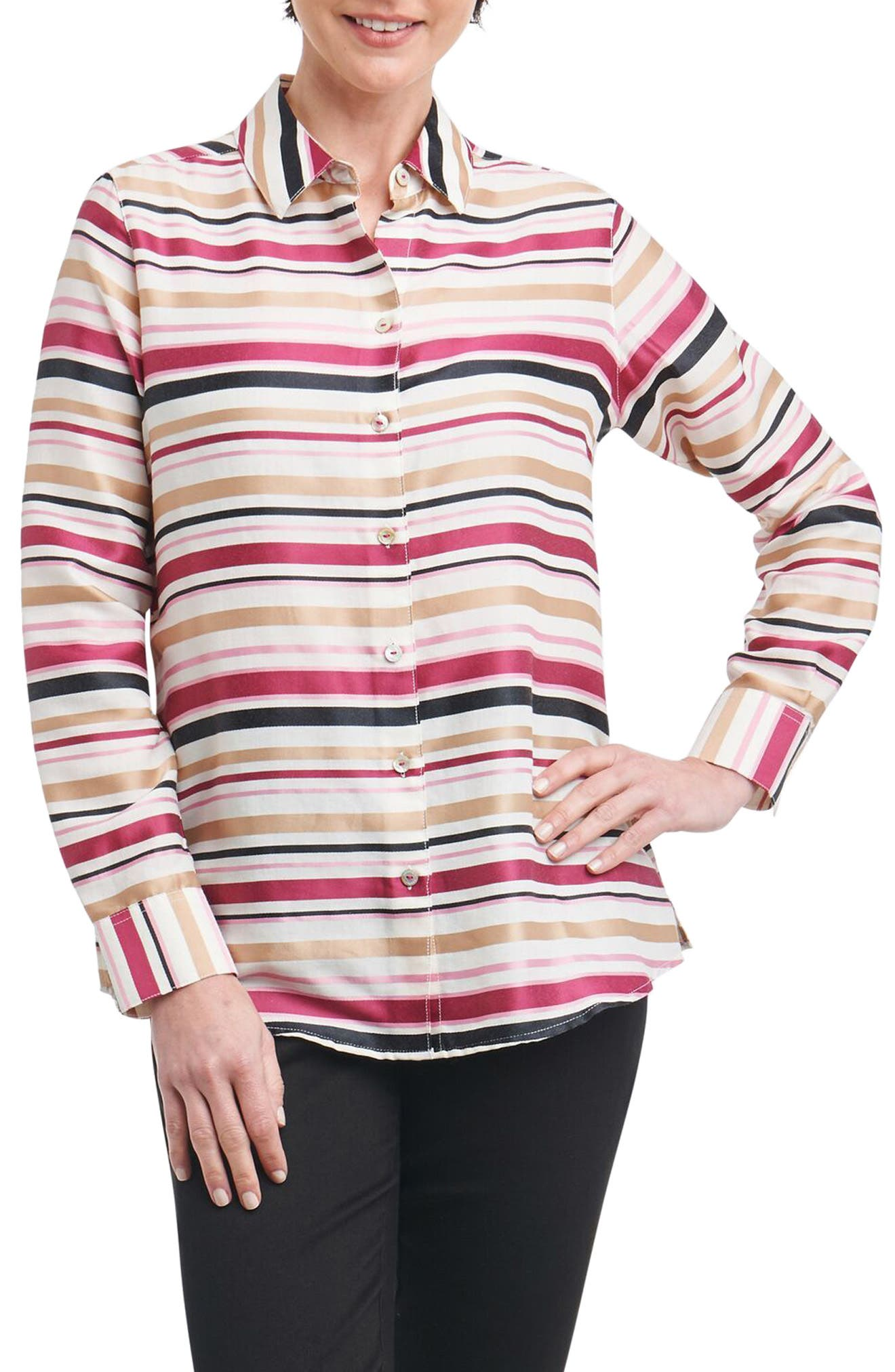 Alternate Image 1 Selected - Foxcroft Addison Stripe Print Sateen Shirt (Regular & Petite)